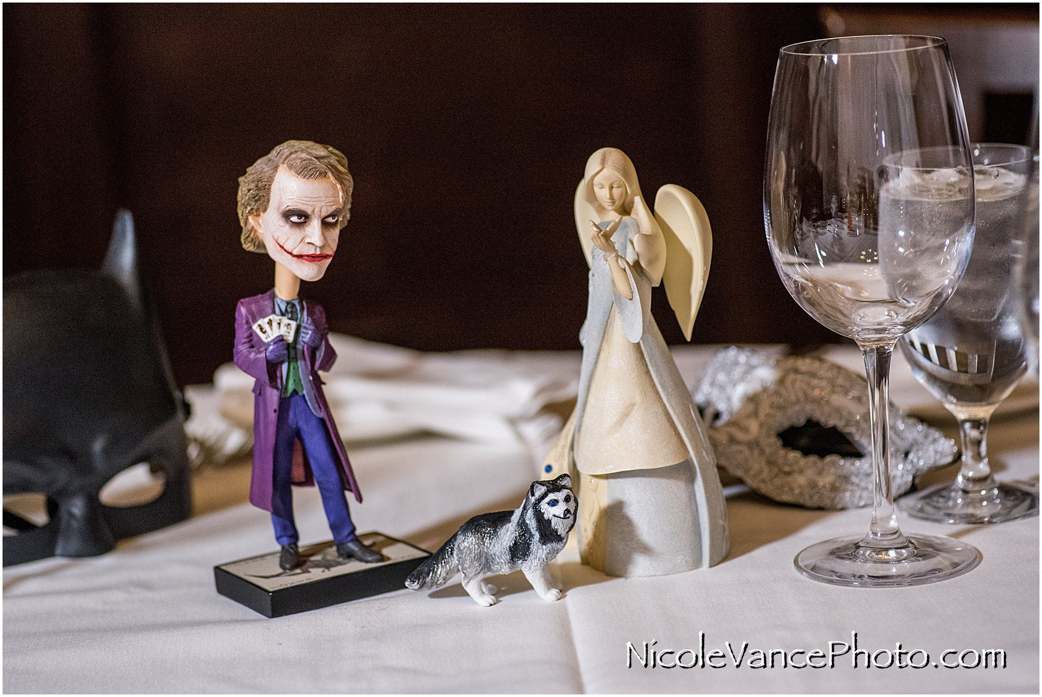 Sinner and saint details from the reception table... their dog is also represented.