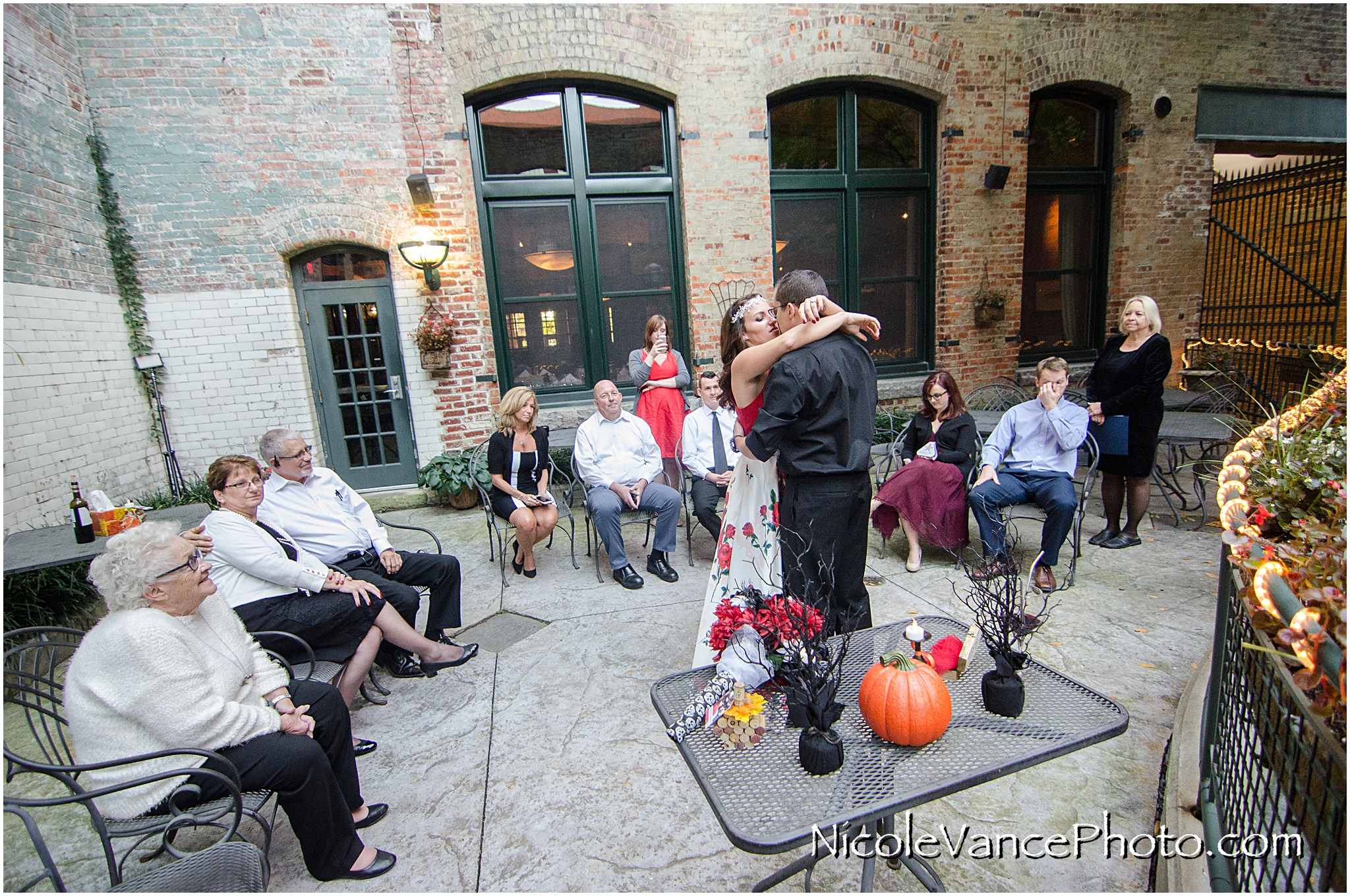 First dance after their wedding ceremony at Bookbinders on the back patio.