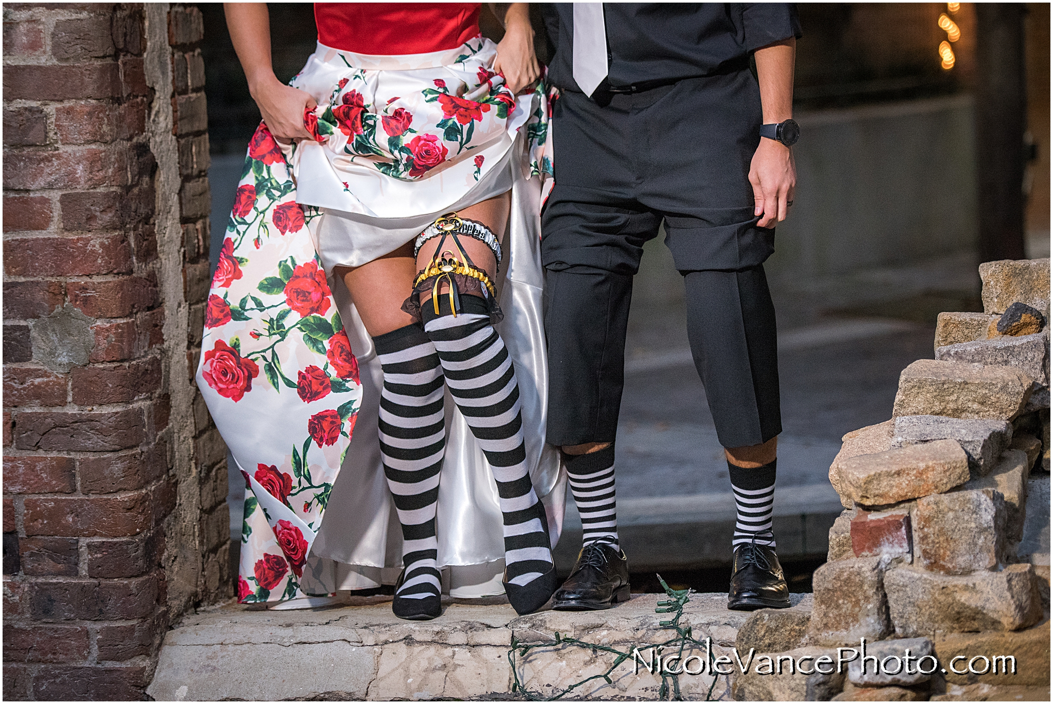 Cool halloween themed socks worn by the bride and groom.