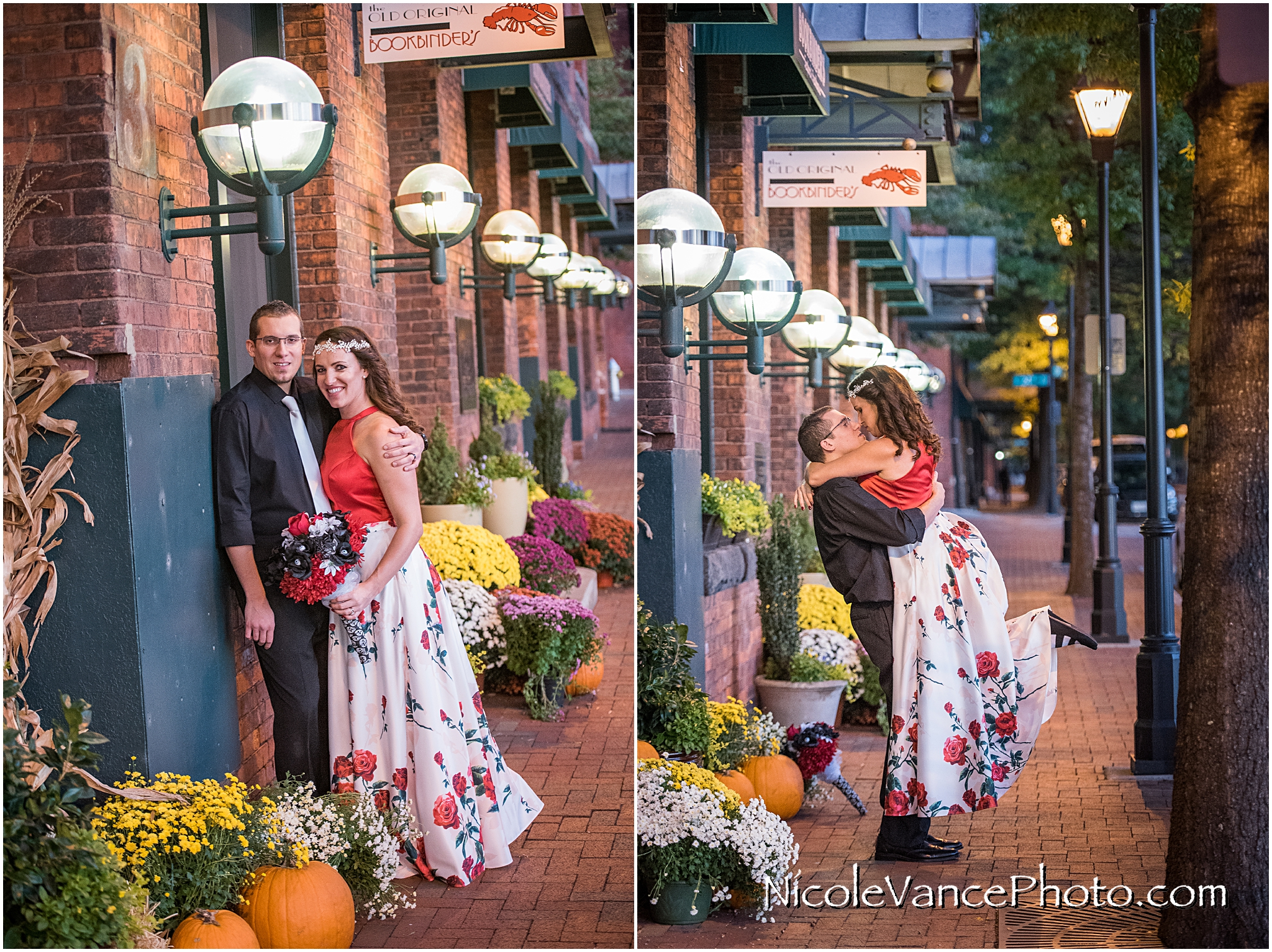 Bride and Groom Portraits at Bookbinders in Richmond, Virginia.