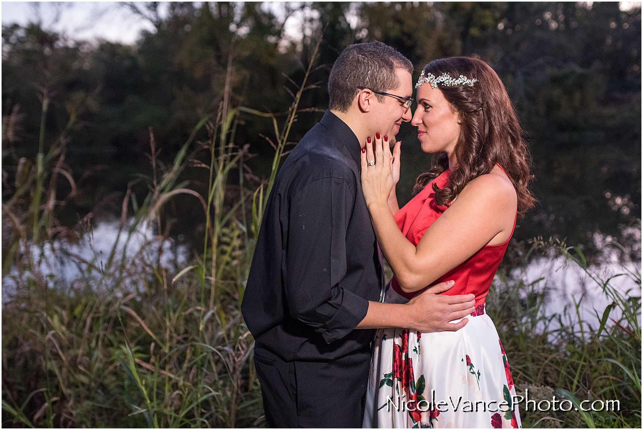 Bride and Groom Portraits near the Canal in Richmond Virginia.