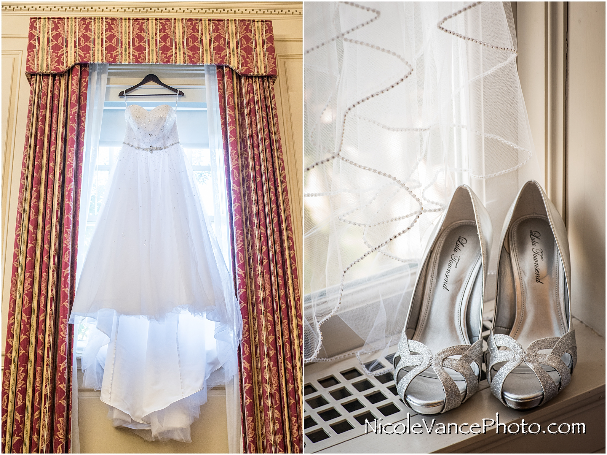 The brides dress and shoes are ready for her wedding day at Virginia Crossings.