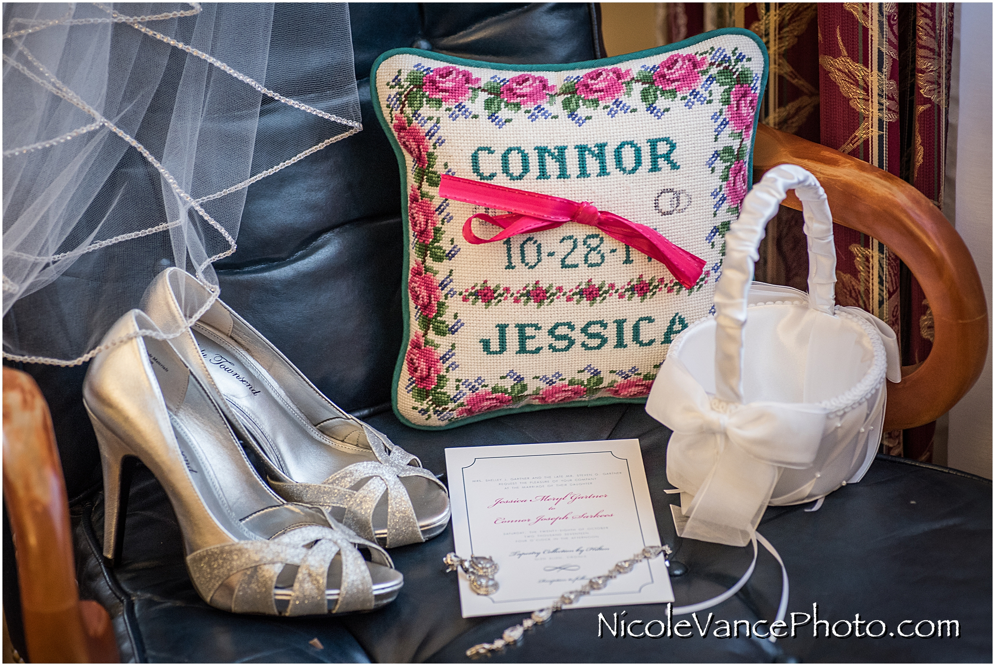 Bridal details at Virginia Crossings; the ring pillow is handmade by the bride's mom.
