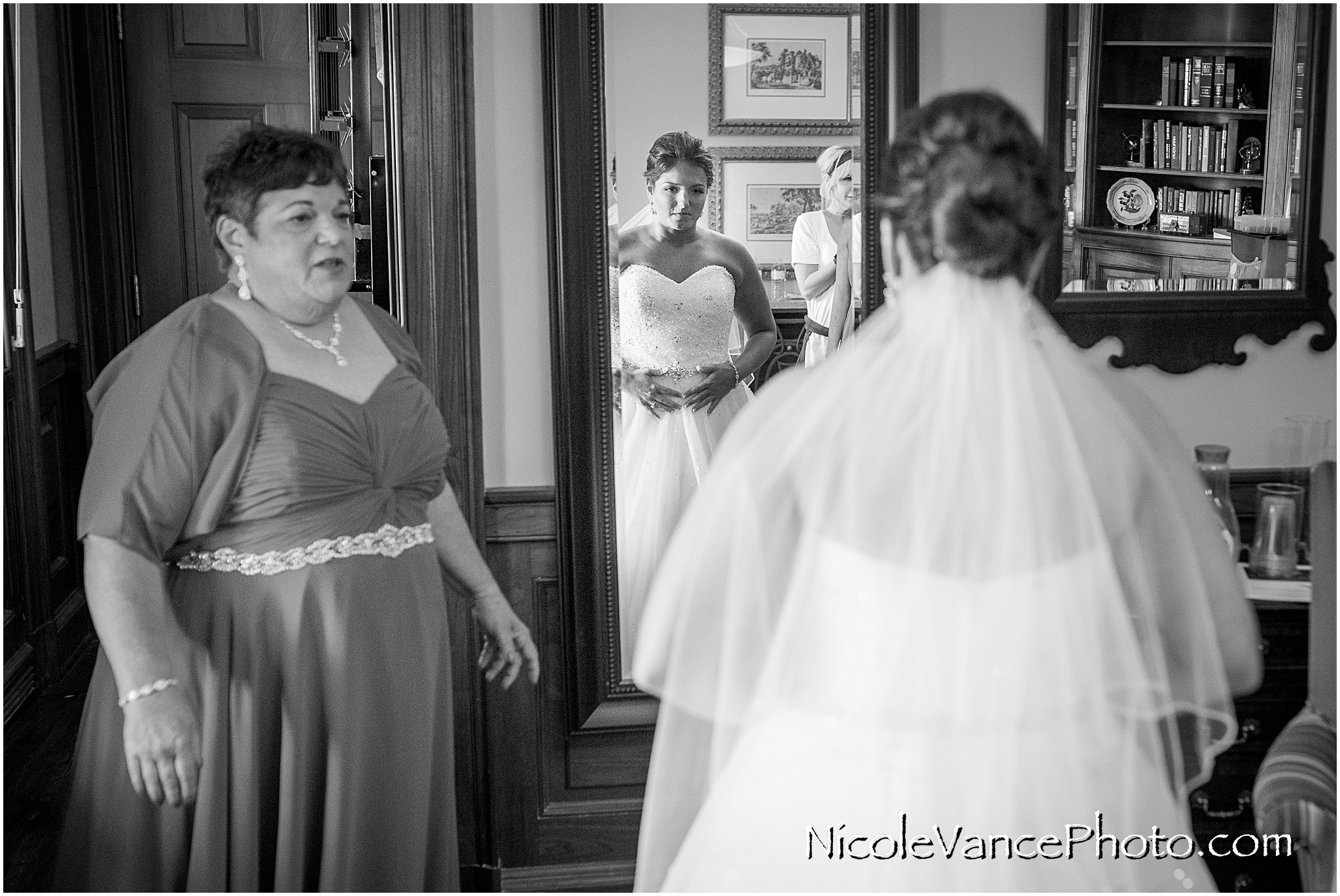 The bride makes final preparations for her wedding at Virginia Crossings.