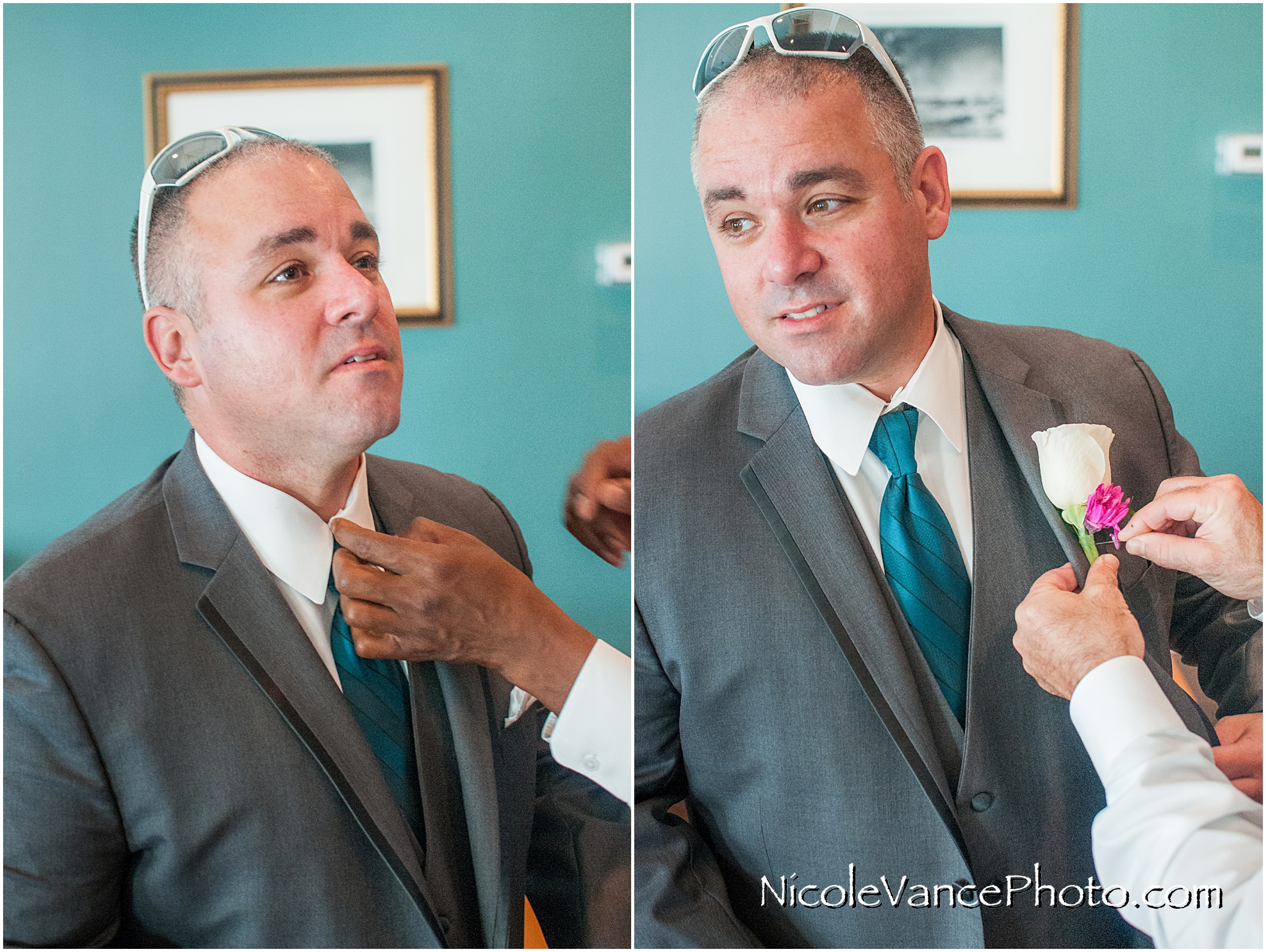 The grooms has his boutonniere pinned on before his wedding at Virginia Crossings.