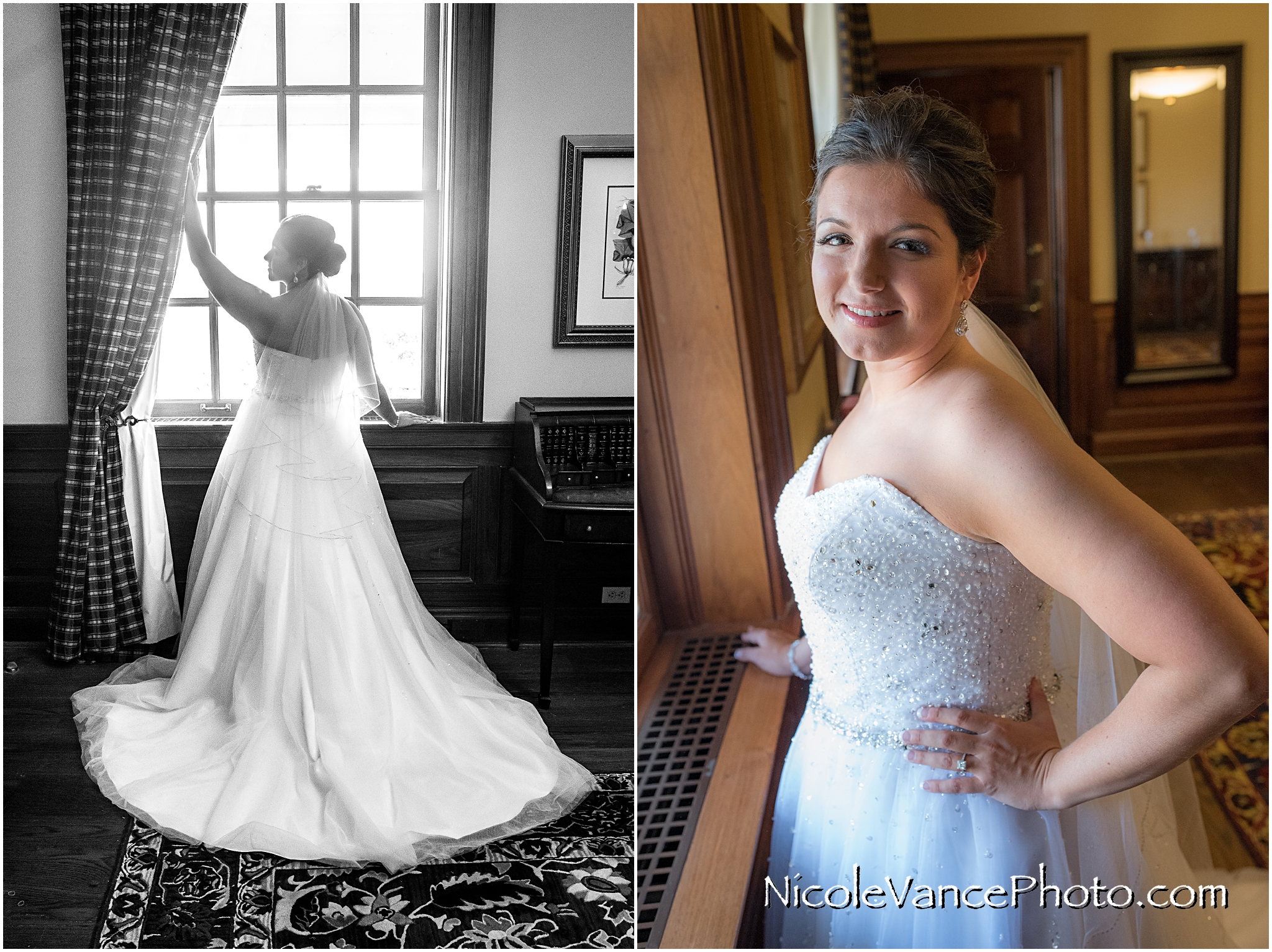 Bridal portraits in the bridal suite at Virginia Crossings.