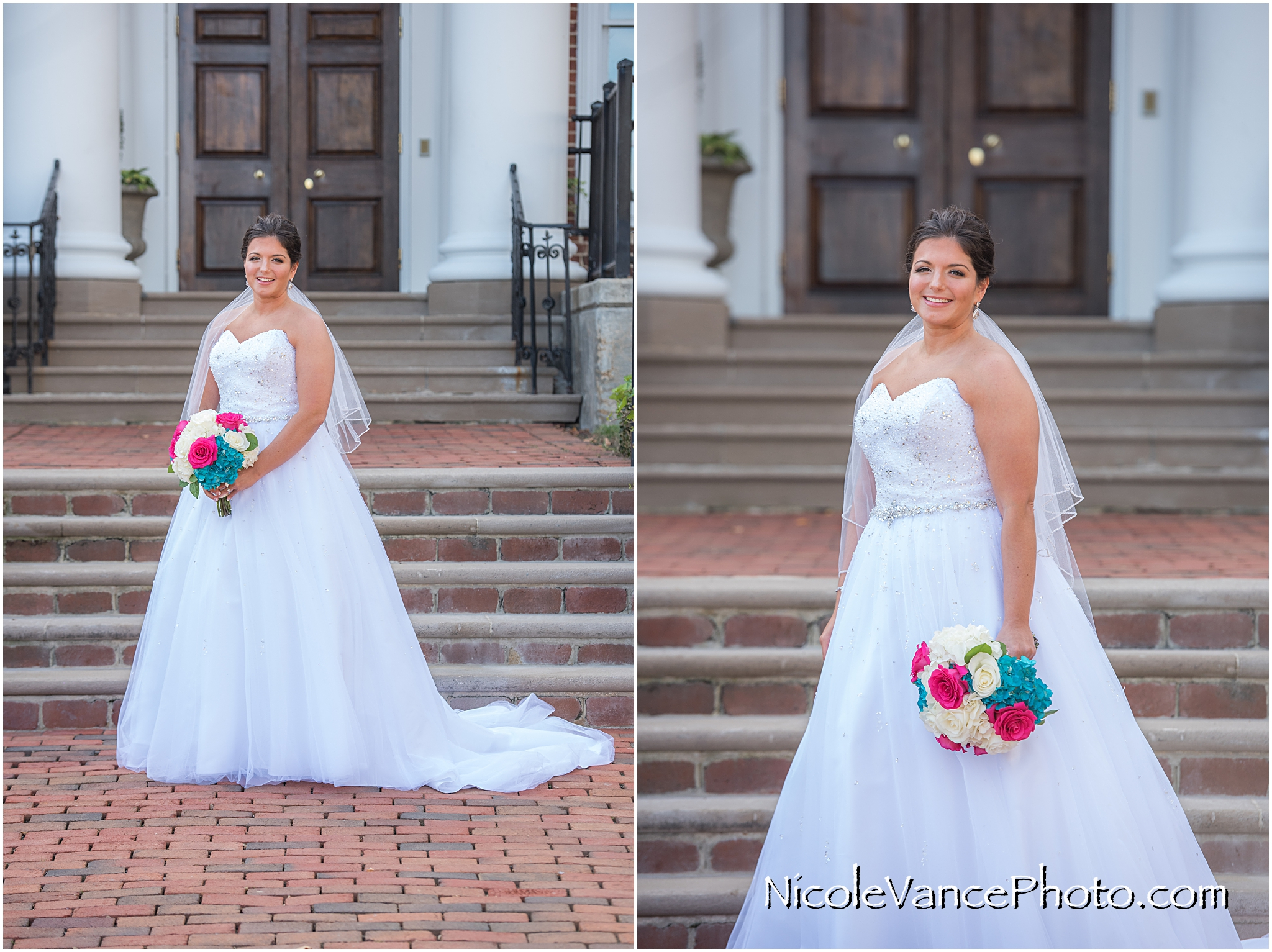 Bridal portrait on the steps at Virginia Crossings.