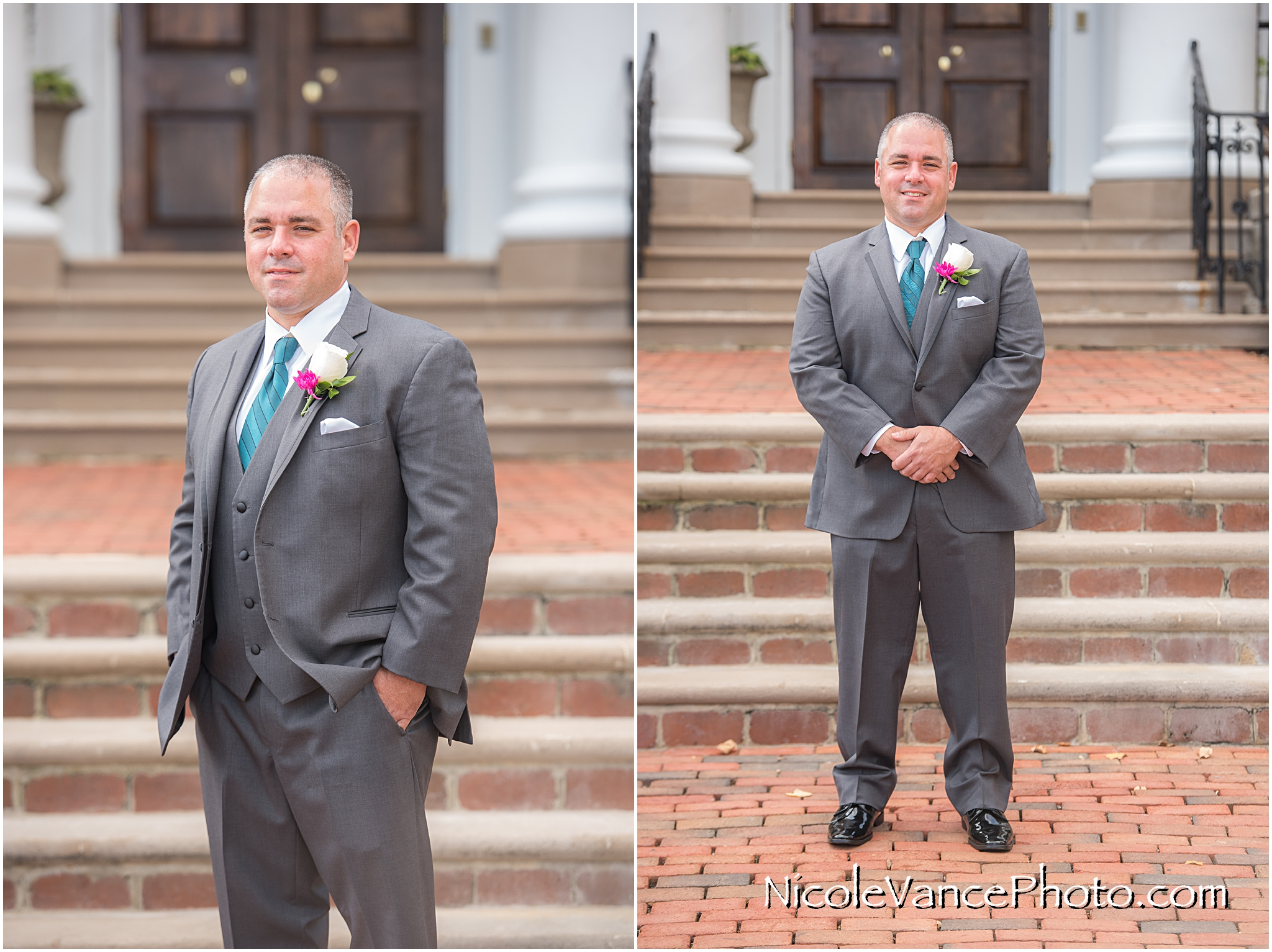 Groom portrait on the steps at Virginia Crossings.