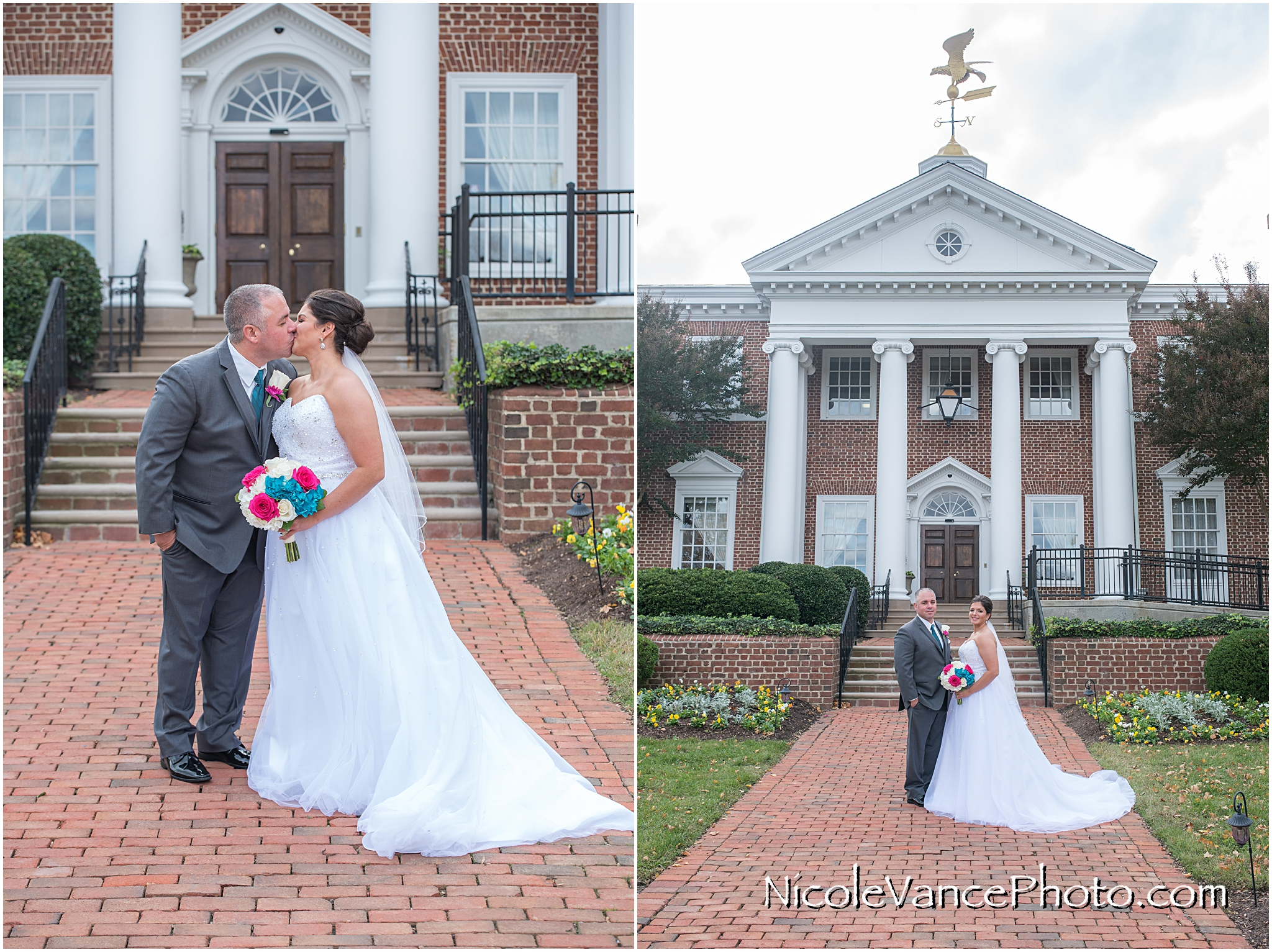 Bride and groom portraits on the steps at Virginia Crossings.