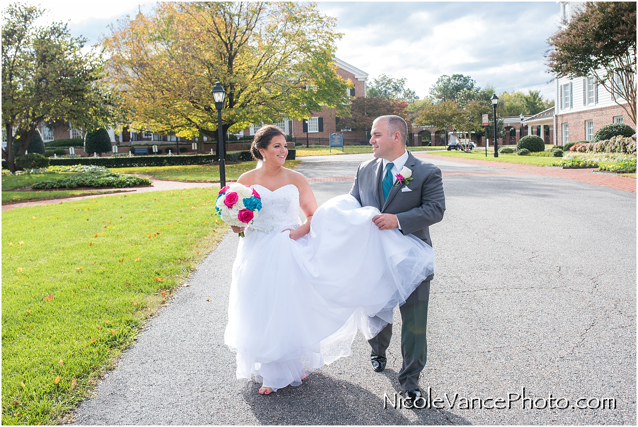 Bride and groom portraits at Virginia Crossings.