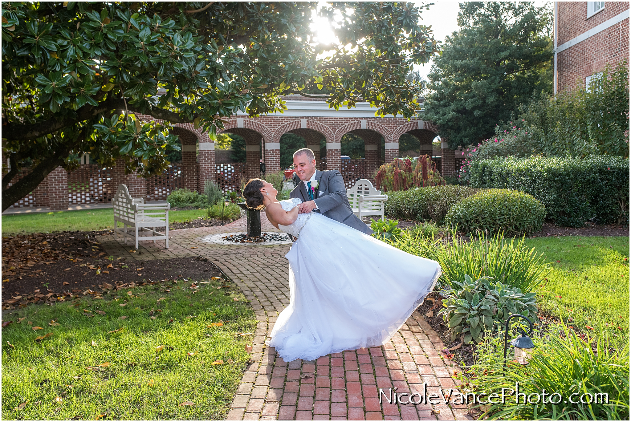 Wedding portraits at the gardens at Virginia Crossings.