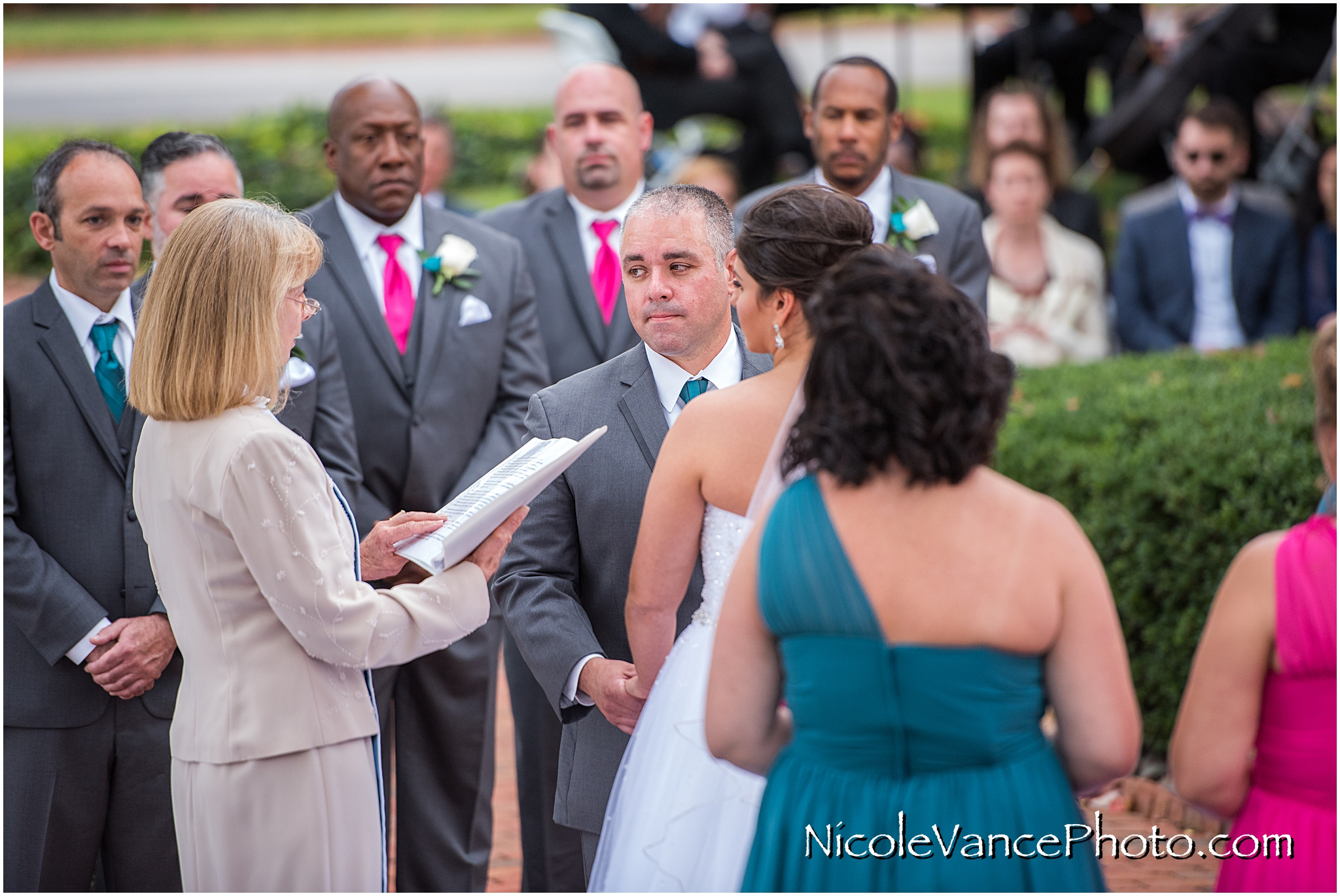 Wedding ceremony at Virginia Crossings.