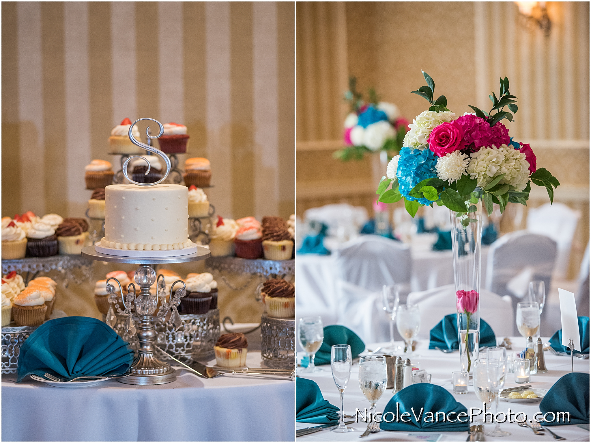 Reception details in the ballroom at Virginia Crossings.