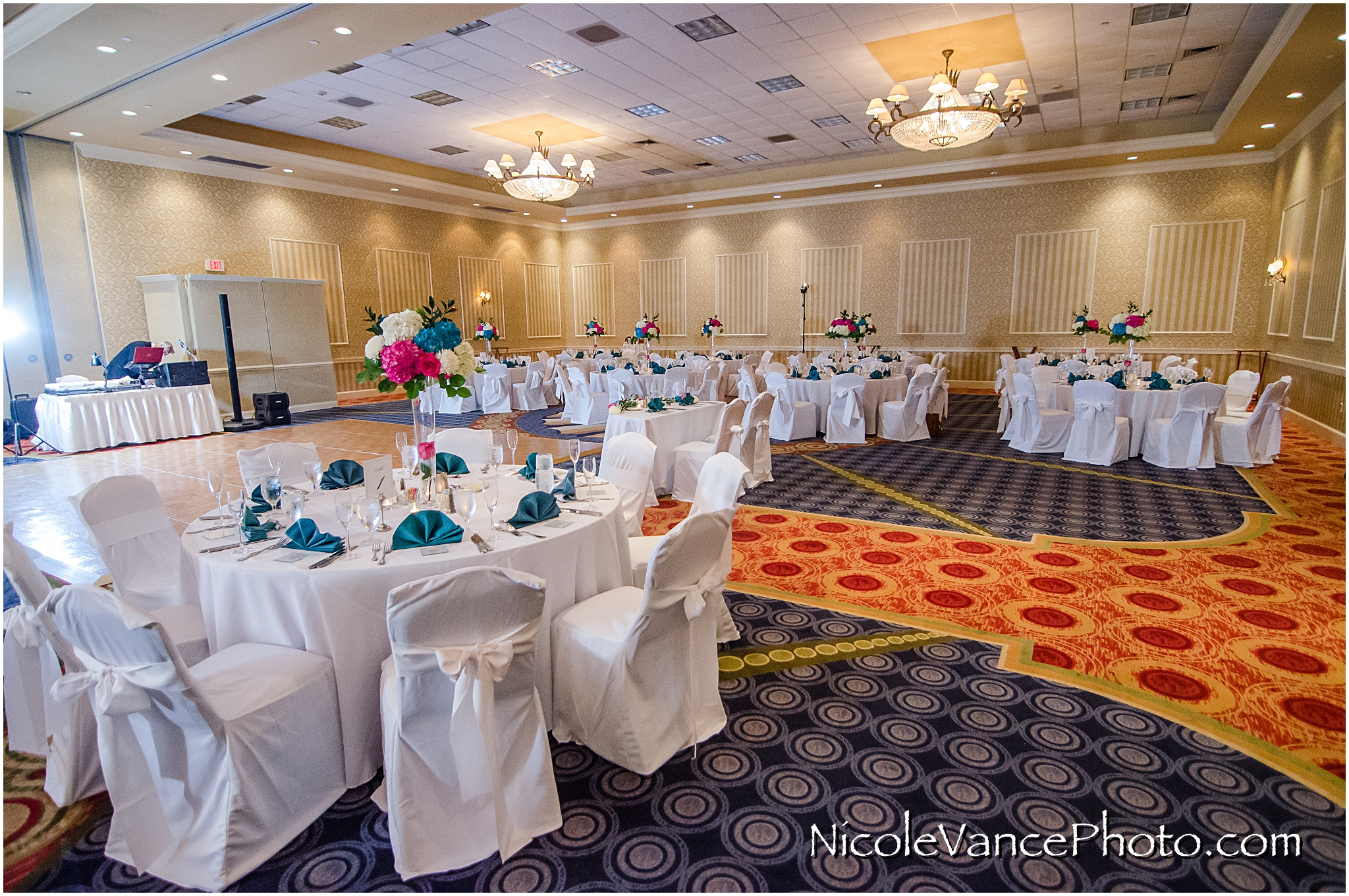 The reception is all set up in the ballroom at Virginia Crossings.