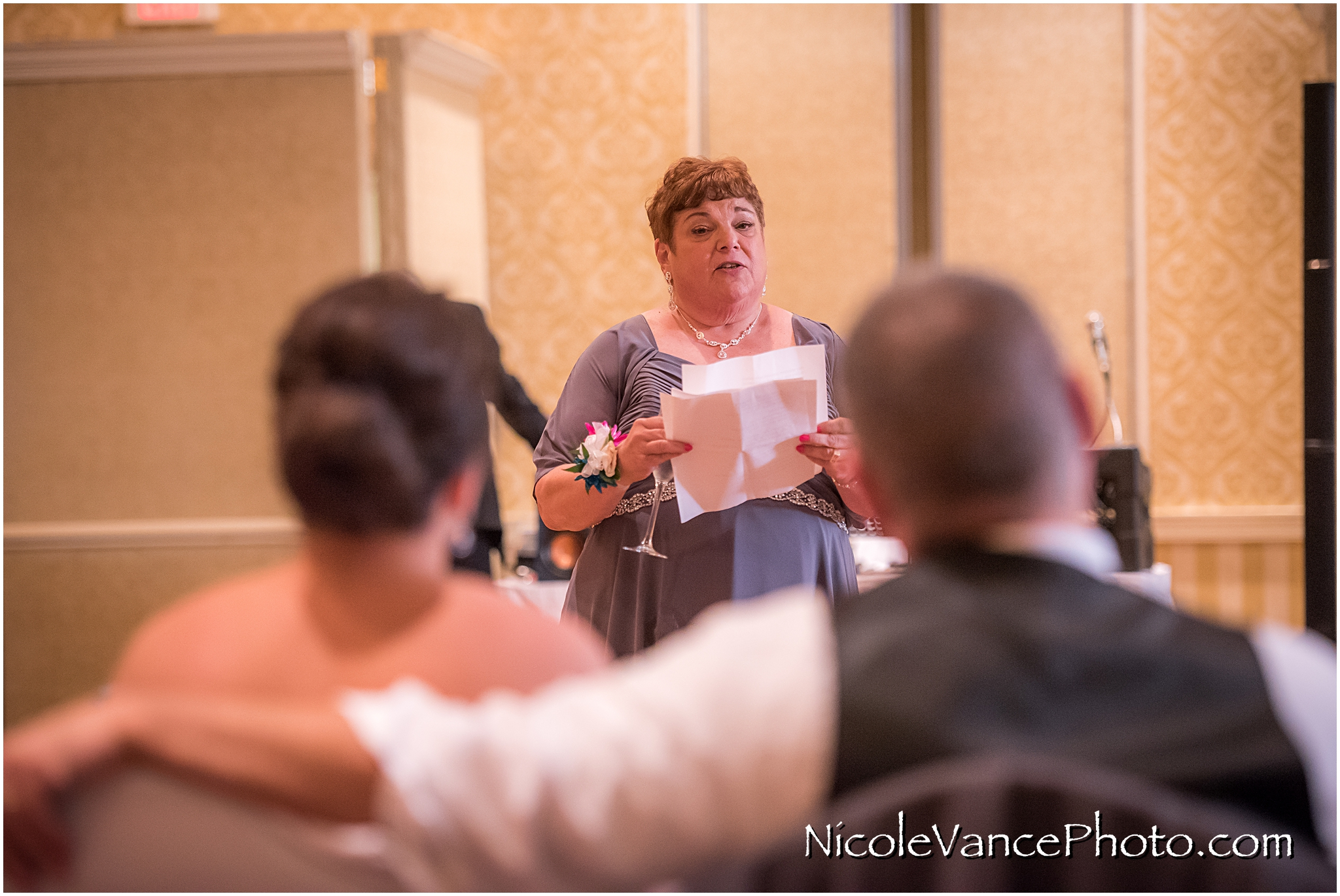 The bride's mom makes a toast at the reception at the Virginia Crossings.