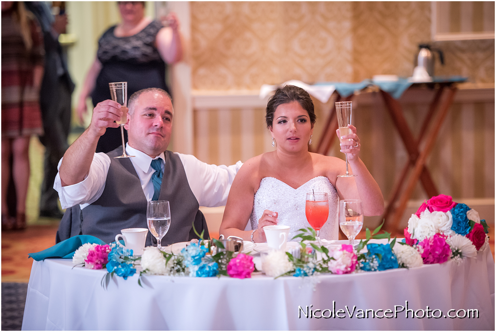 A toast at the reception at the Virginia Crossings.