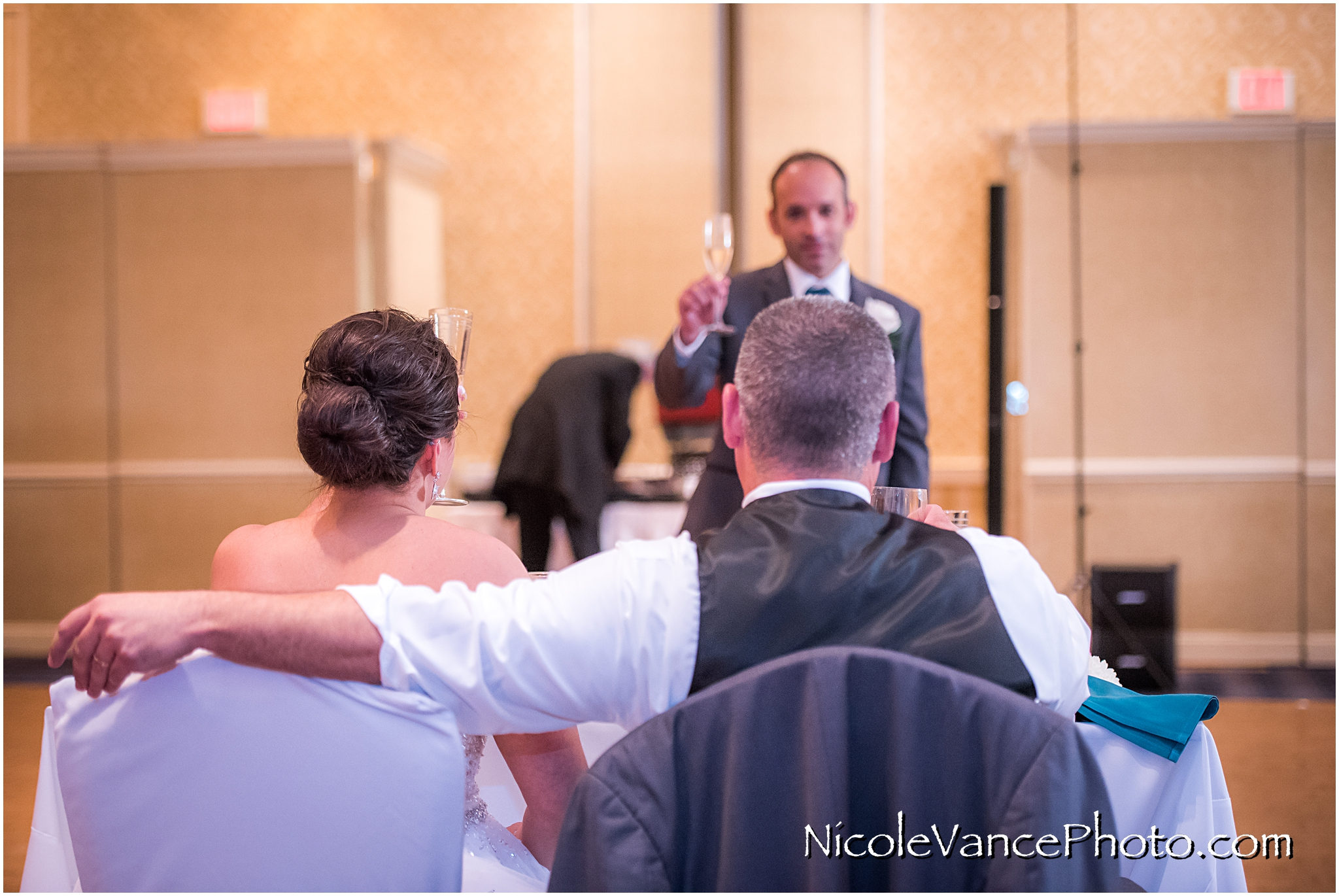 The best man makes a toast at the reception at the Virginia Crossings.