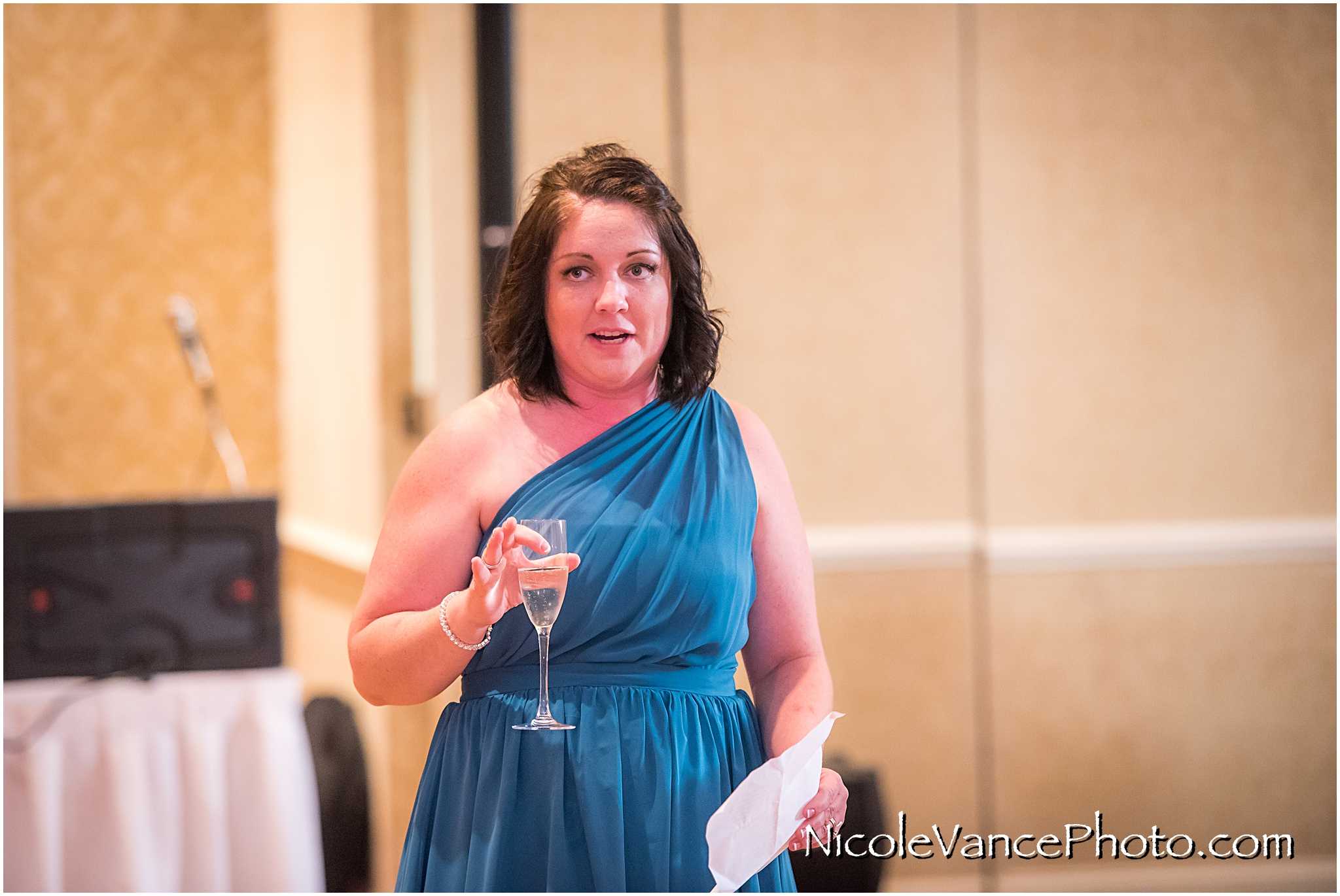 The maid of honor makes a toast at the reception at the Virginia Crossings.
