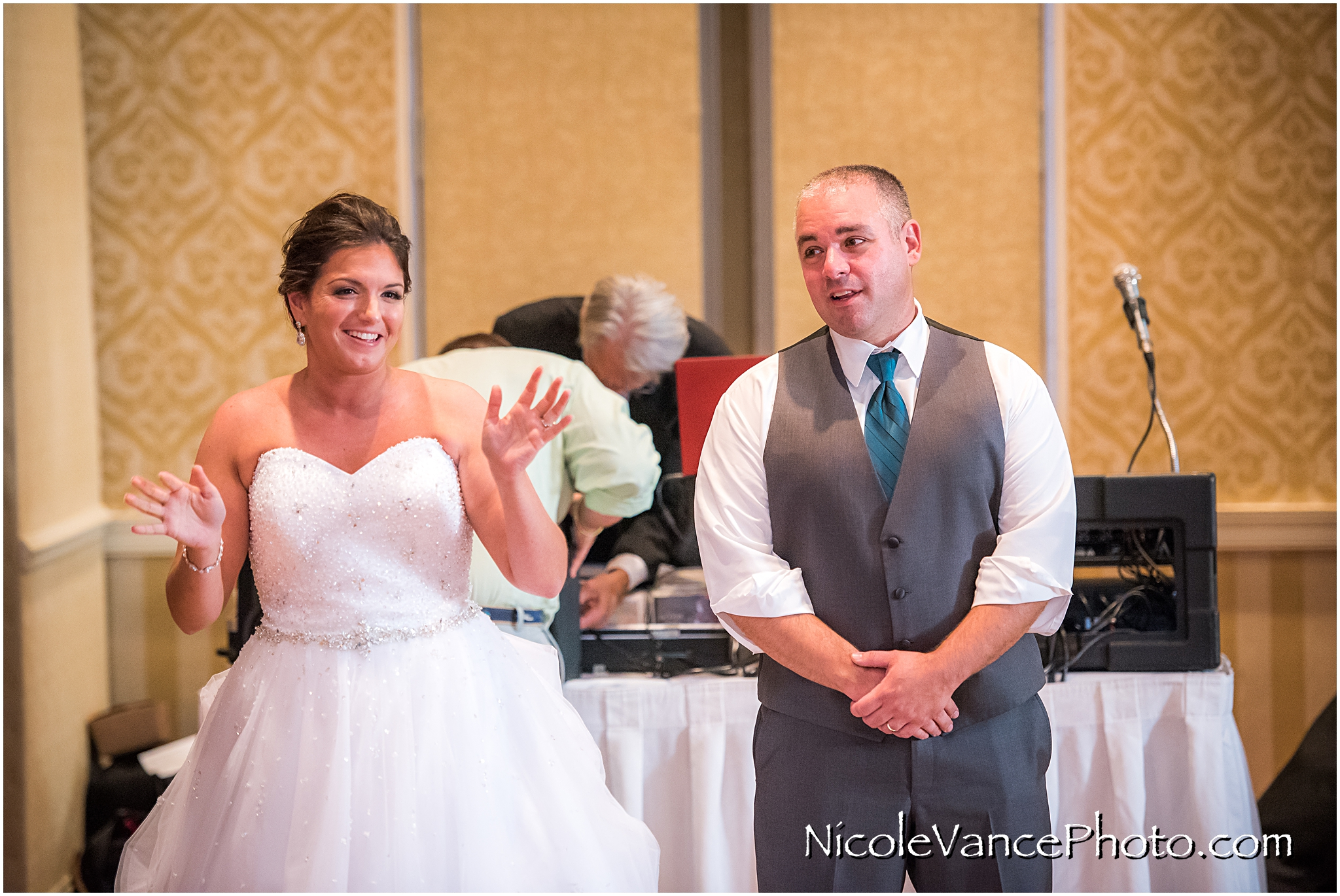 The bride and groom make a toast at the reception at the Virginia Crossings.