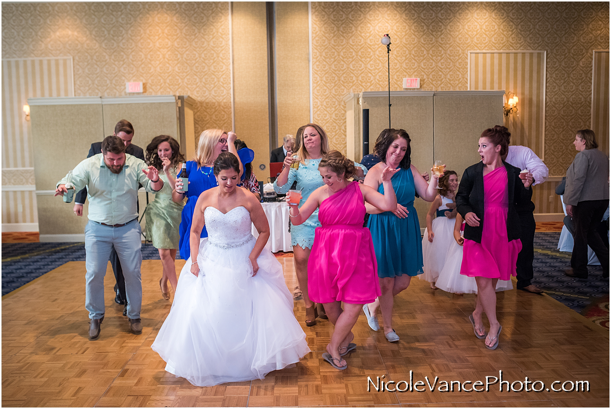 Dancing at the reception at Virginia Crossings.