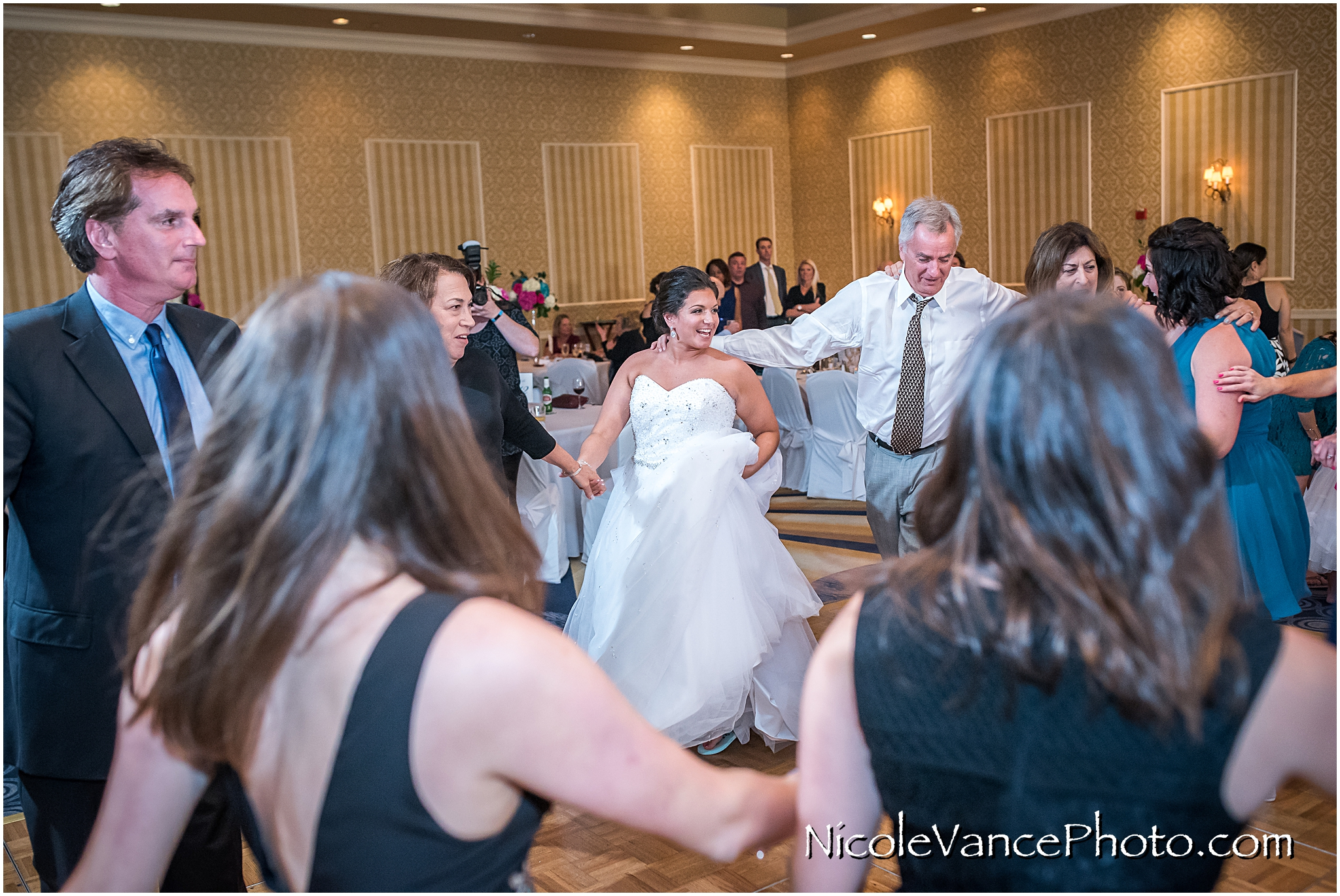 Dancing the Horah at the reception at Virginia Crossings.