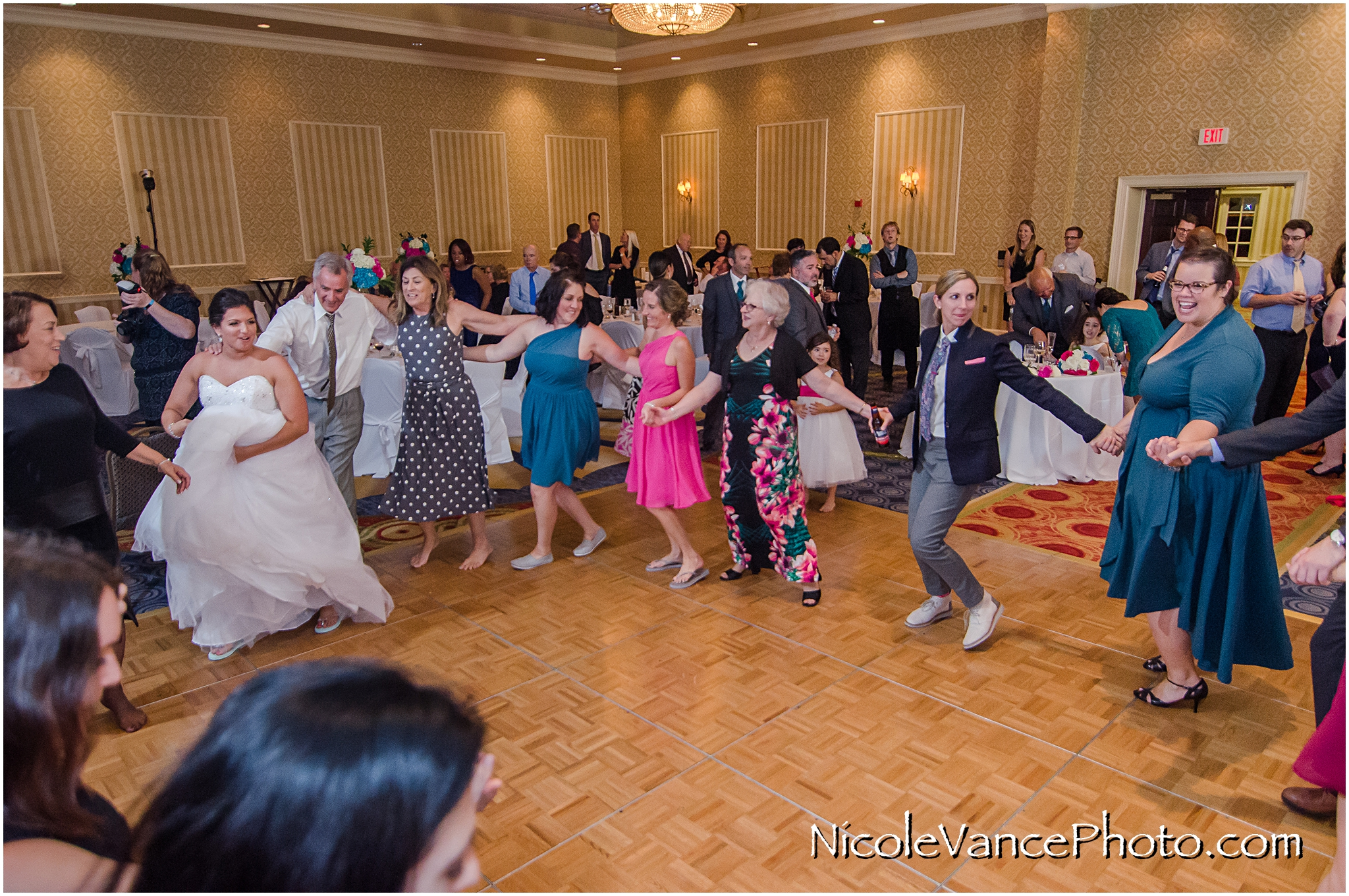 Dancing the Hora at the reception at Virginia Crossings.