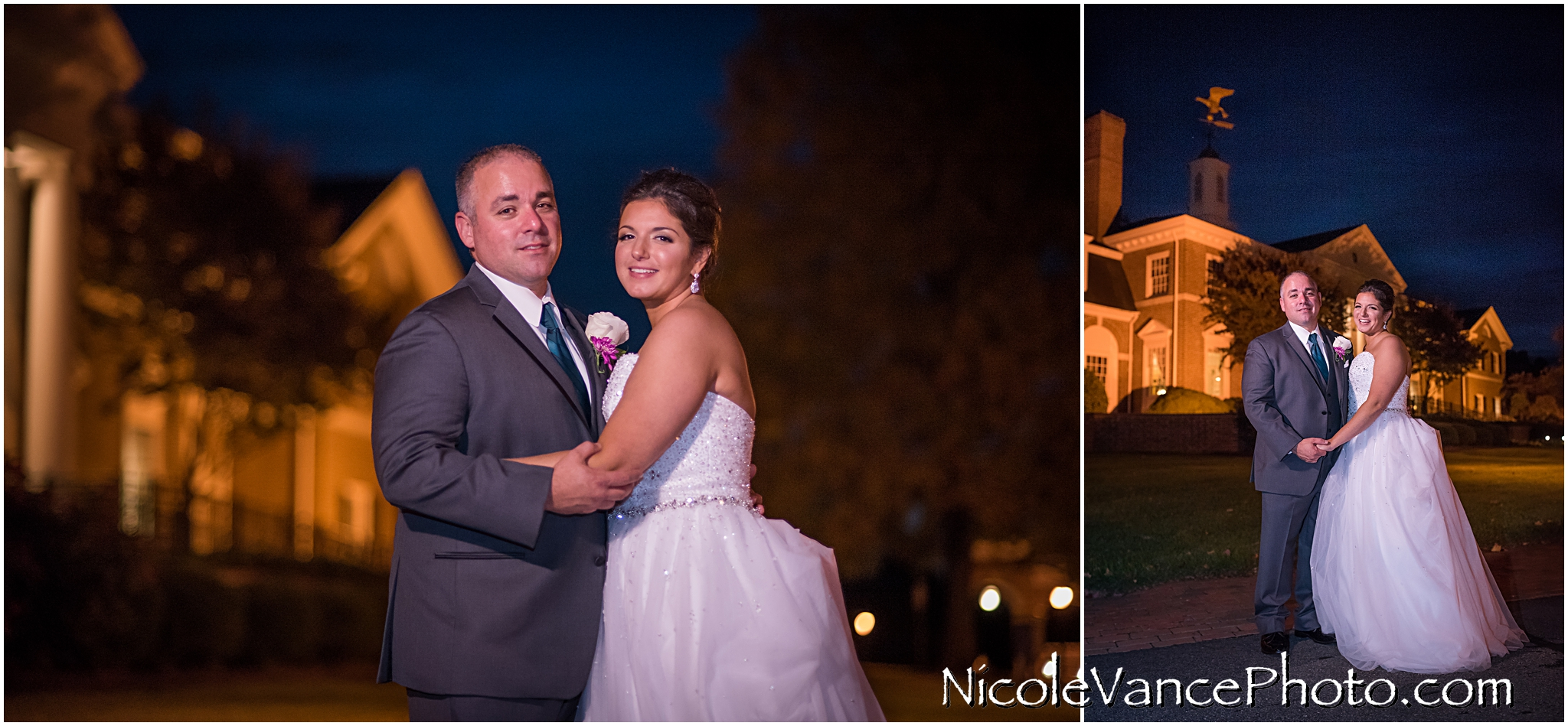 Night portraits in front of Virginia Crossings.