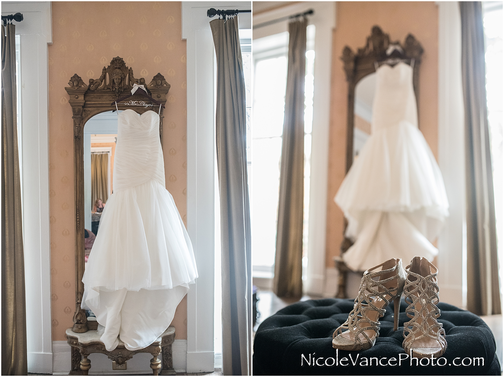 The bride's dress hangs in the bridal suite at Linden Row Inn.
