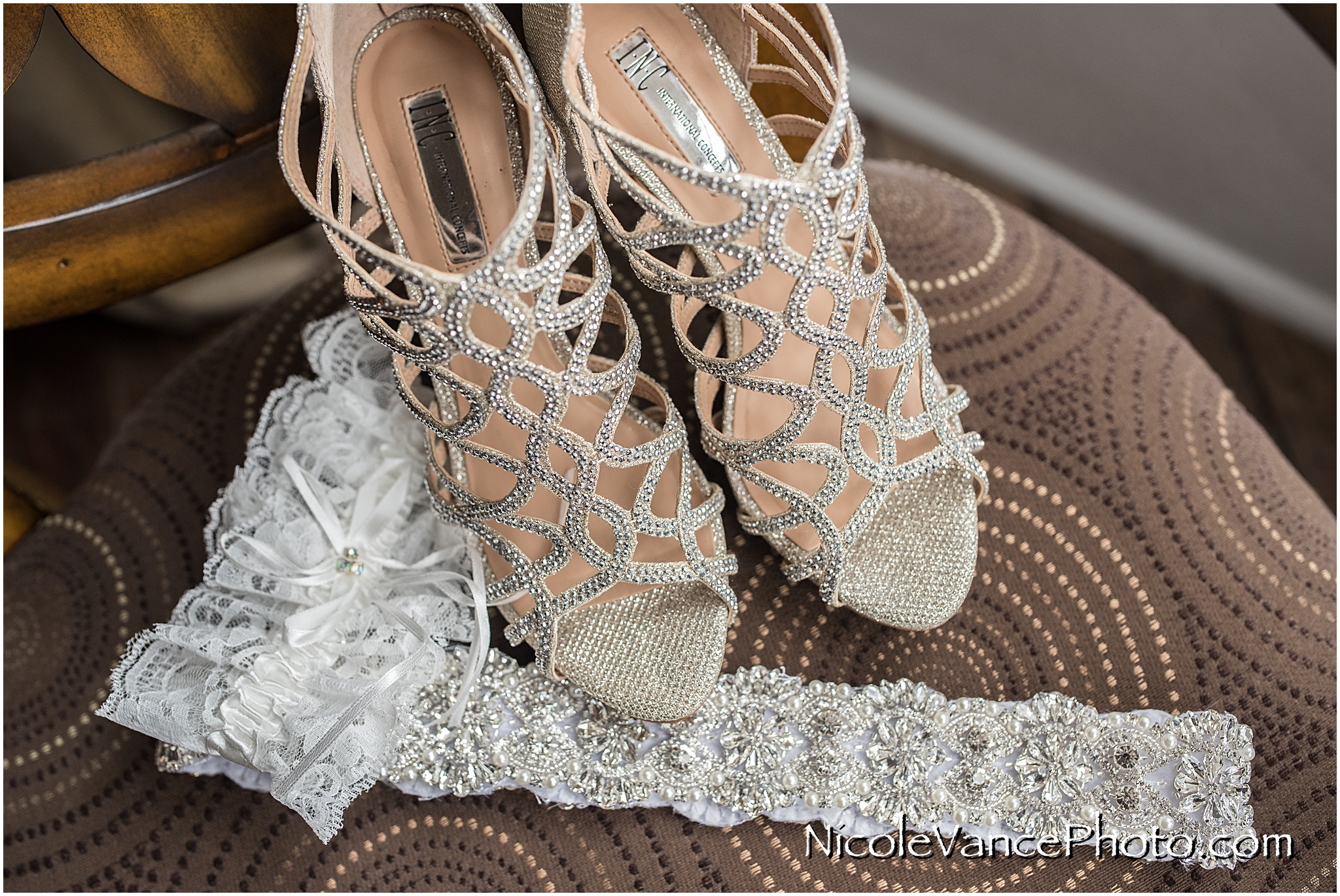 Bridal shoes, beaded belt and garter await their big day.