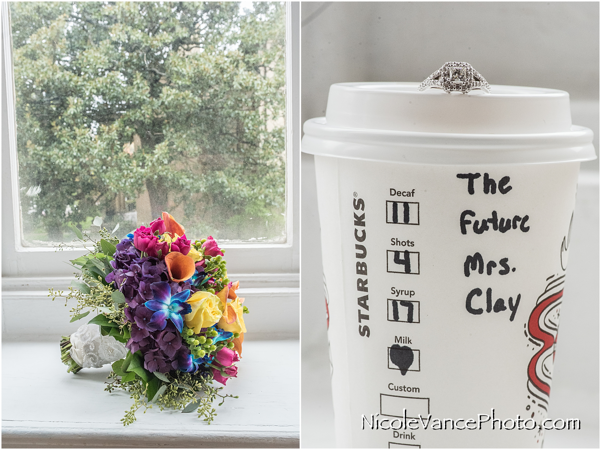 WE love this bright floral bouquet from Flowers Make Scents in Richmond VA. Isn't her starbucks cup the cutest?