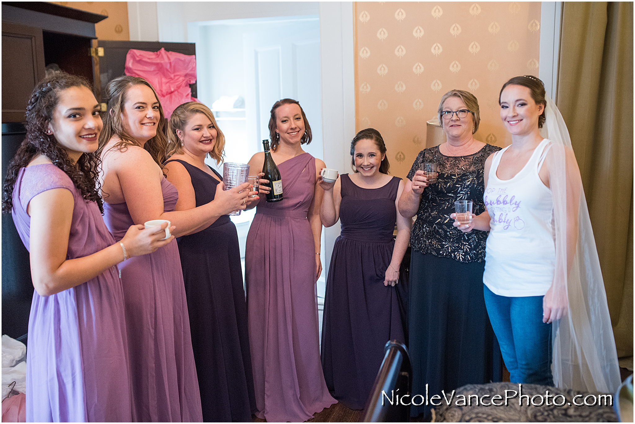 One last champagne toast before the bride gets dress for her big day!