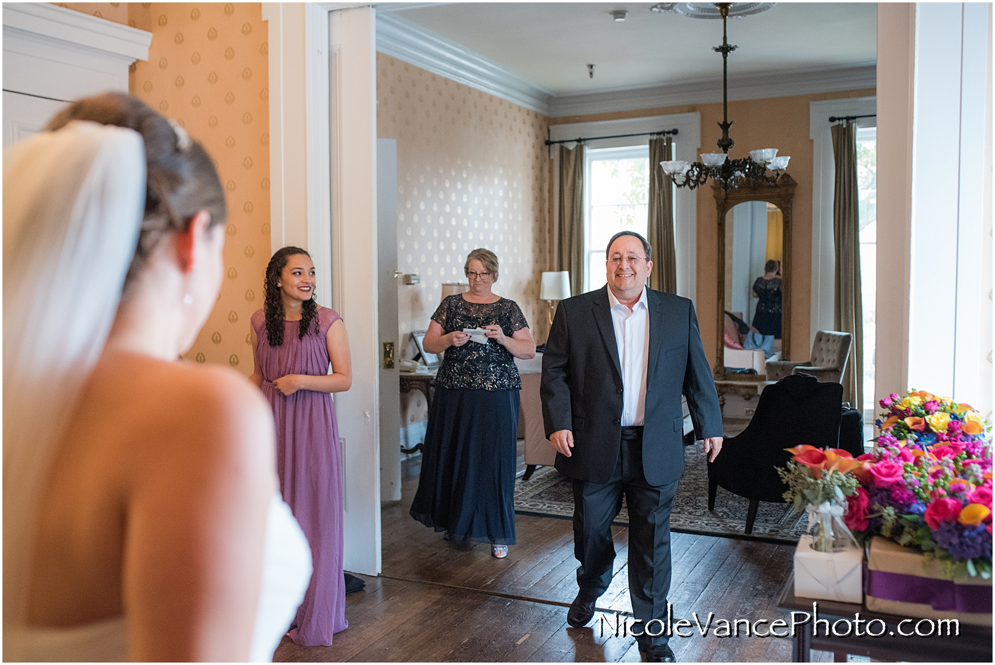 This first look with dad was such a beautiful and emotional moment at the Linden Row Inn.