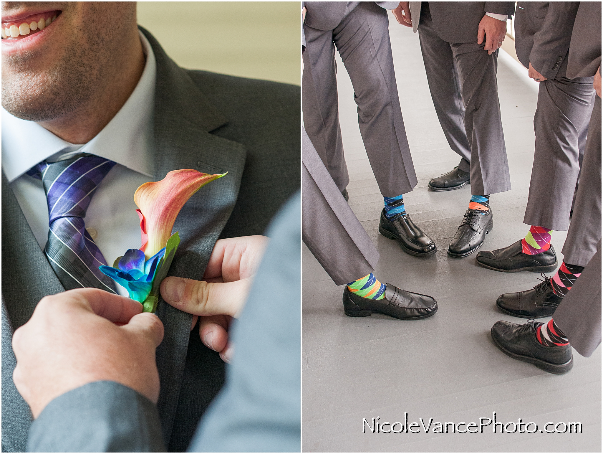 The colorful socks echo the beautiful tones of the florals provided by Flowers Make Scents.