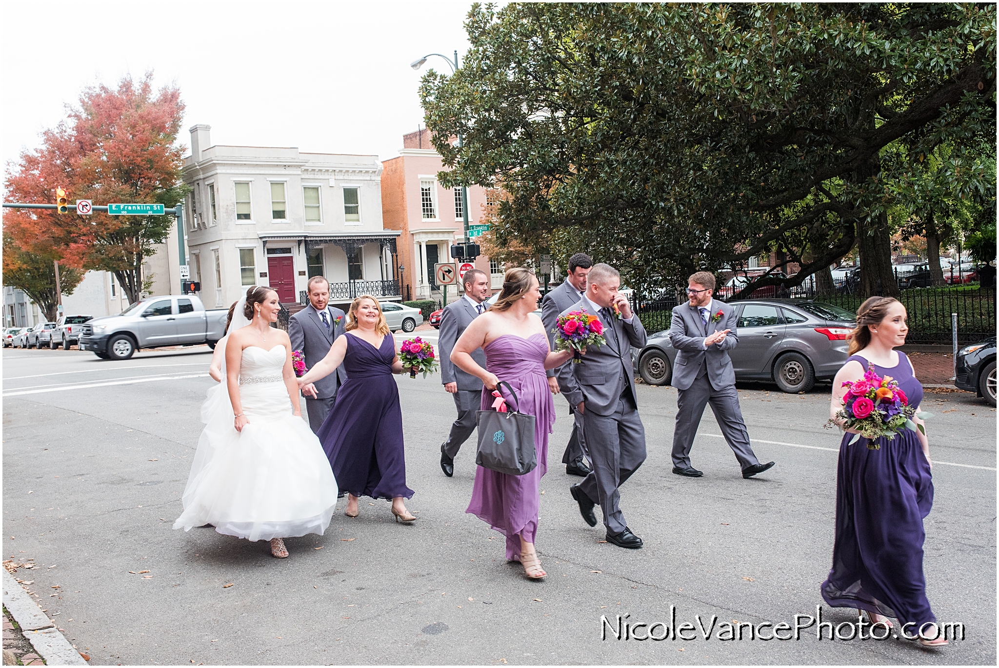 The bridal party heads to the trolley to travel to the wedding ceremony at the Church.