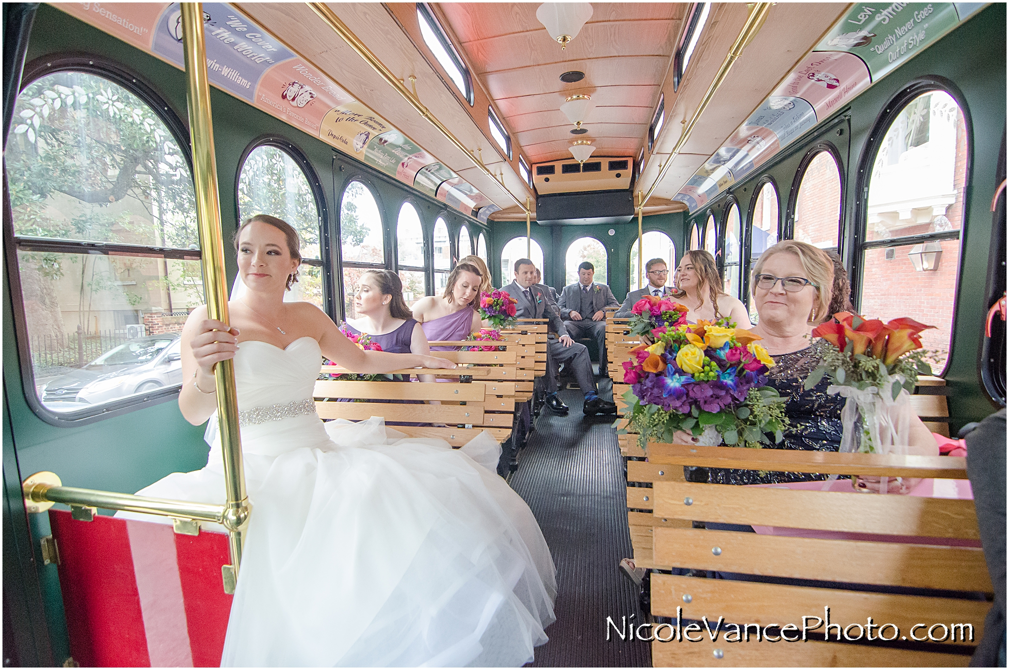 We love the inside of this gorgeous trolley provided by Richmond Trolley.