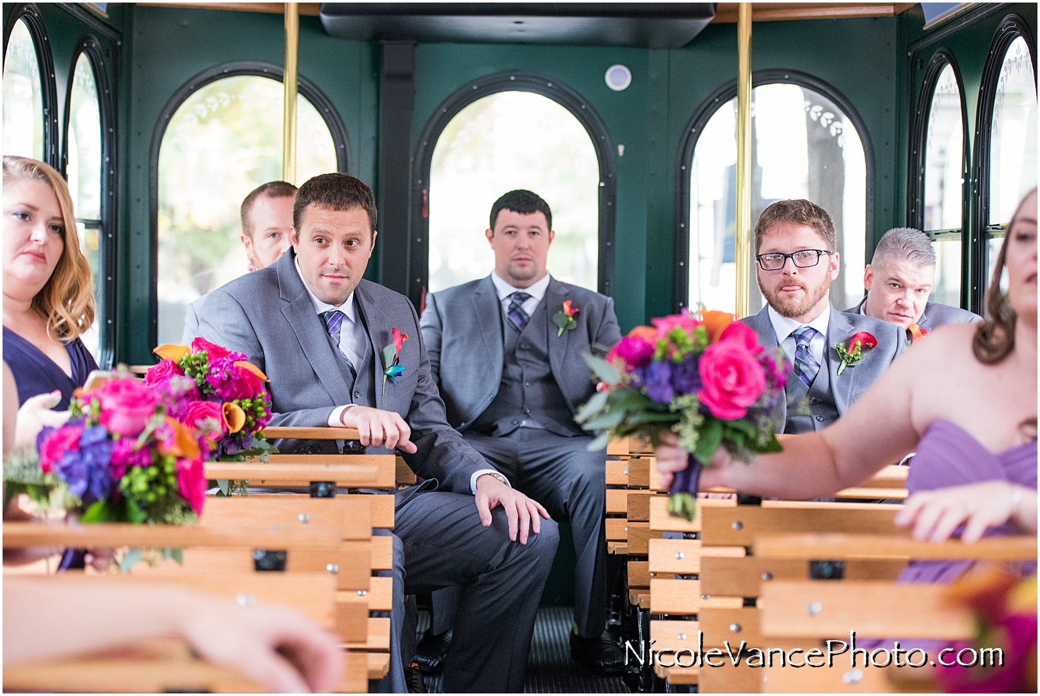 The groom on the trolley, provided by Richmond Trolley.