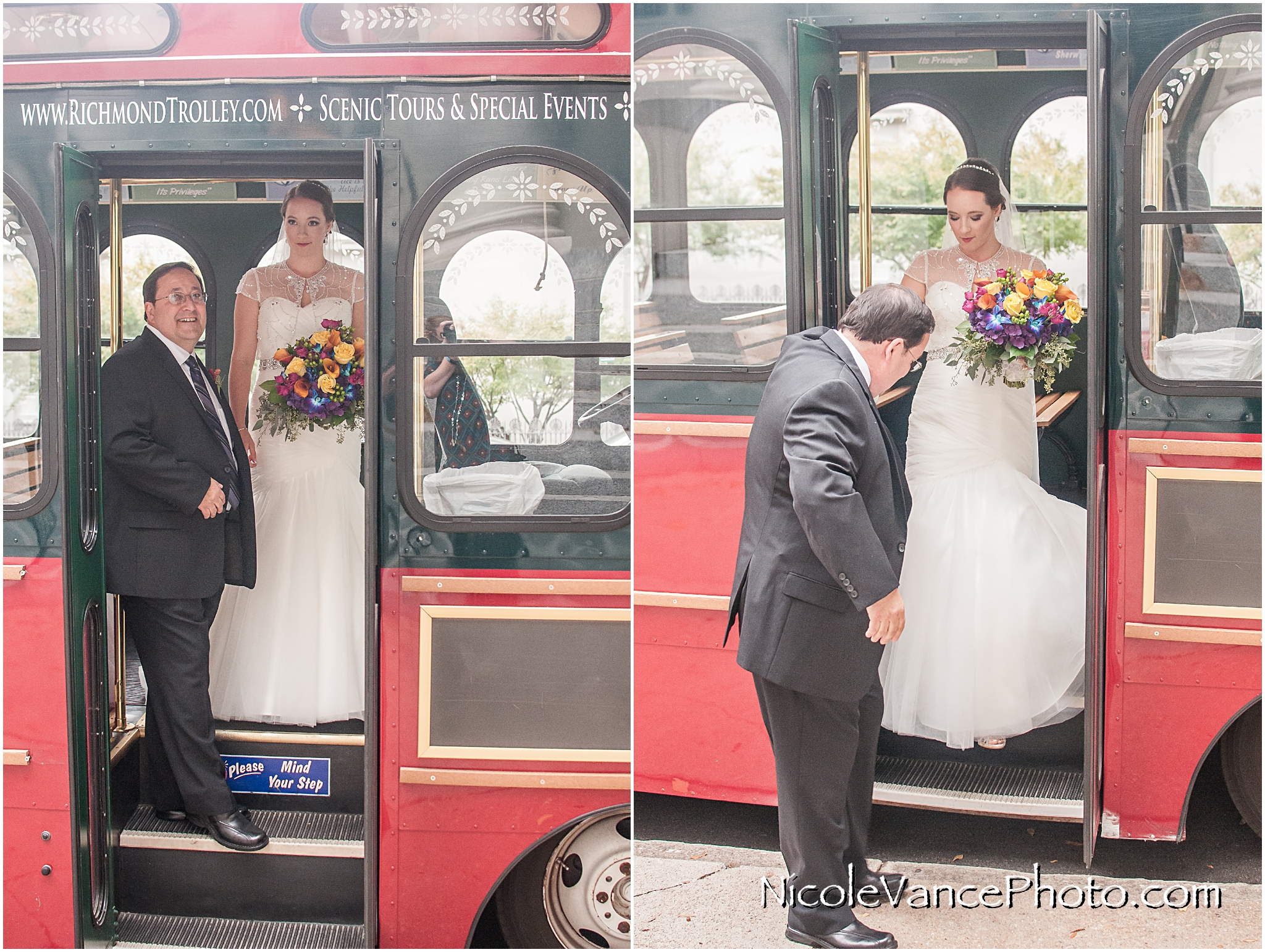 The bride exits the trolley at St Peter's Catholic Church.