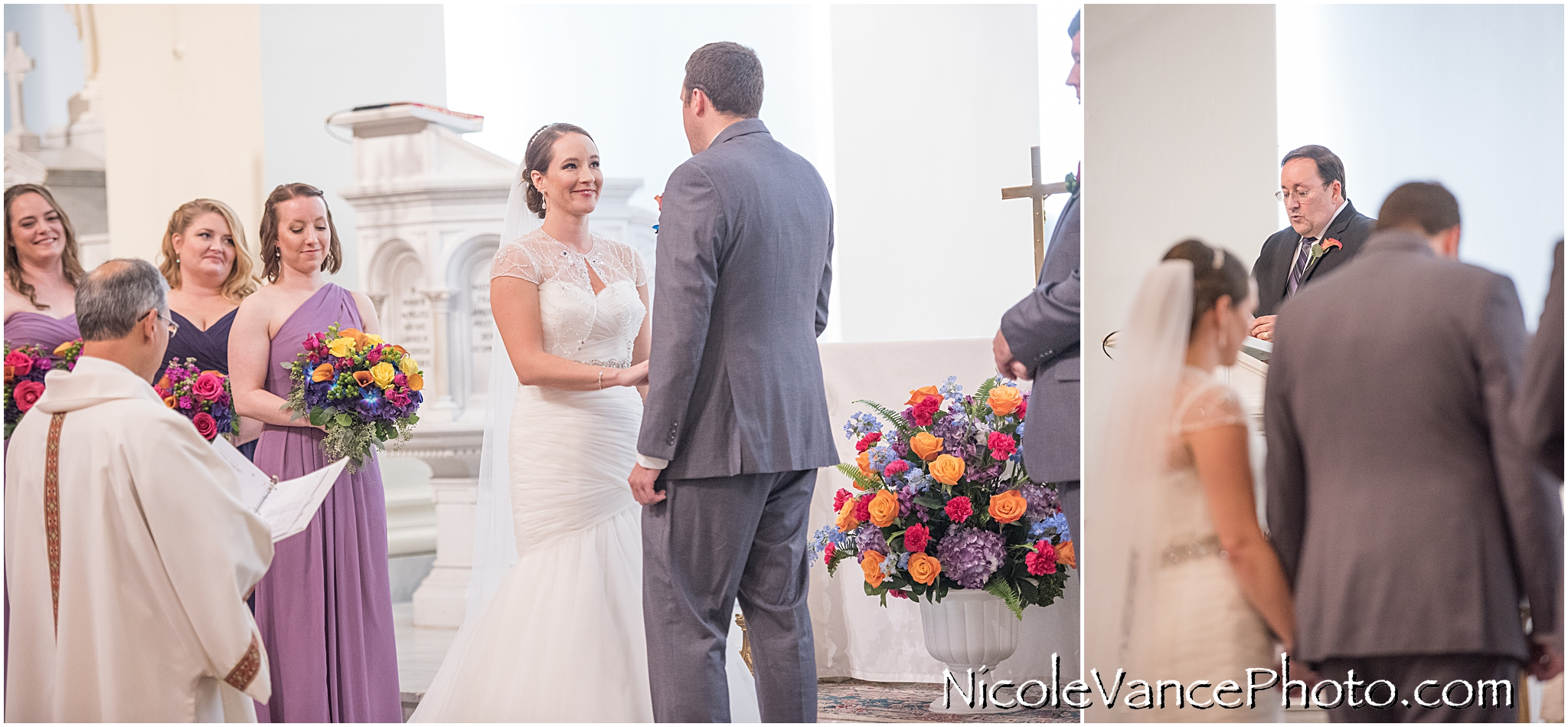 The bride and groom pray during their wedding ceremony at St Peter's Catholic Church in Richmond, VA.
