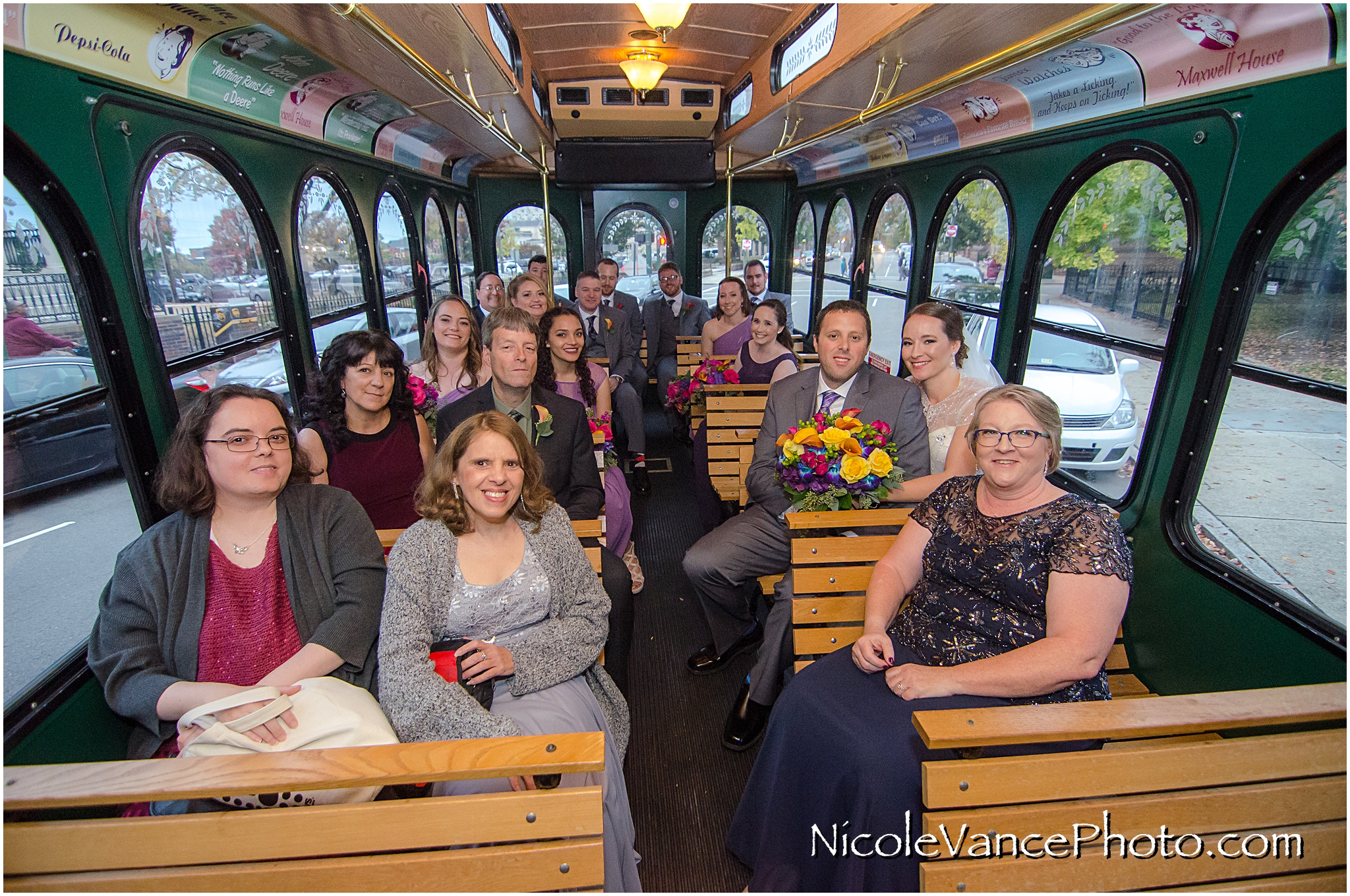 Trolley ride to the wedding reception at The Brownstone by Richmond Trolley.