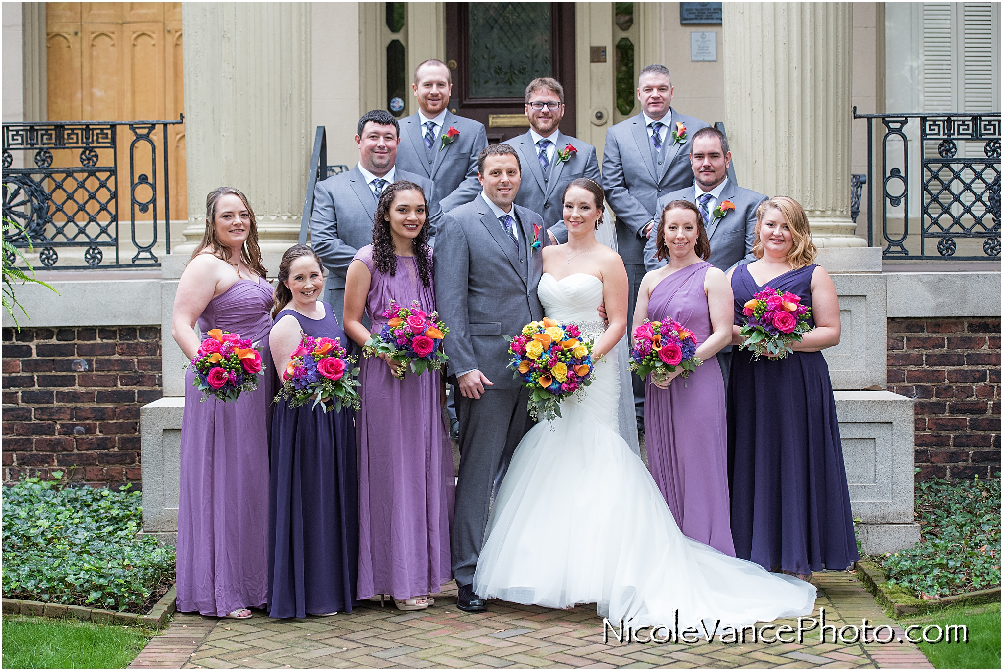 Bridal Party photo taken in front of the Garden Club of Virginia.