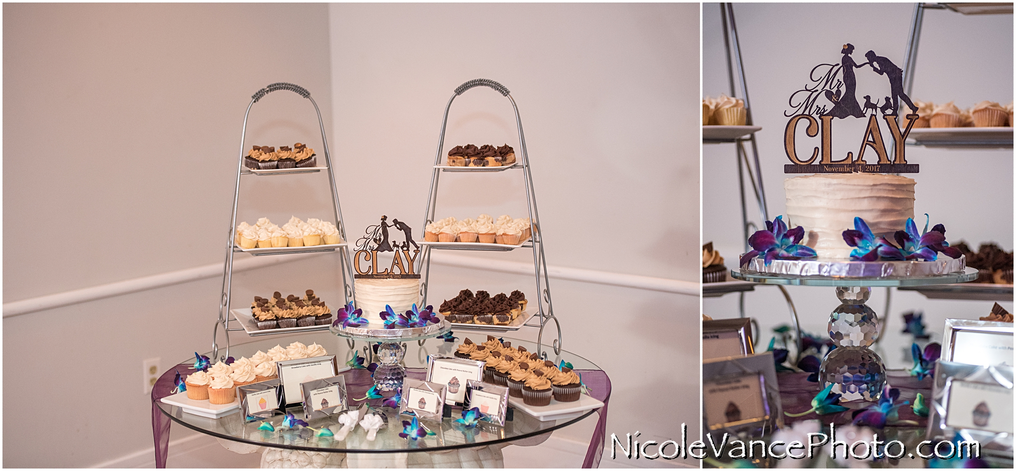 Cake and cupcakes were provided by Kakealicious at the wedding reception at The Brownstone.