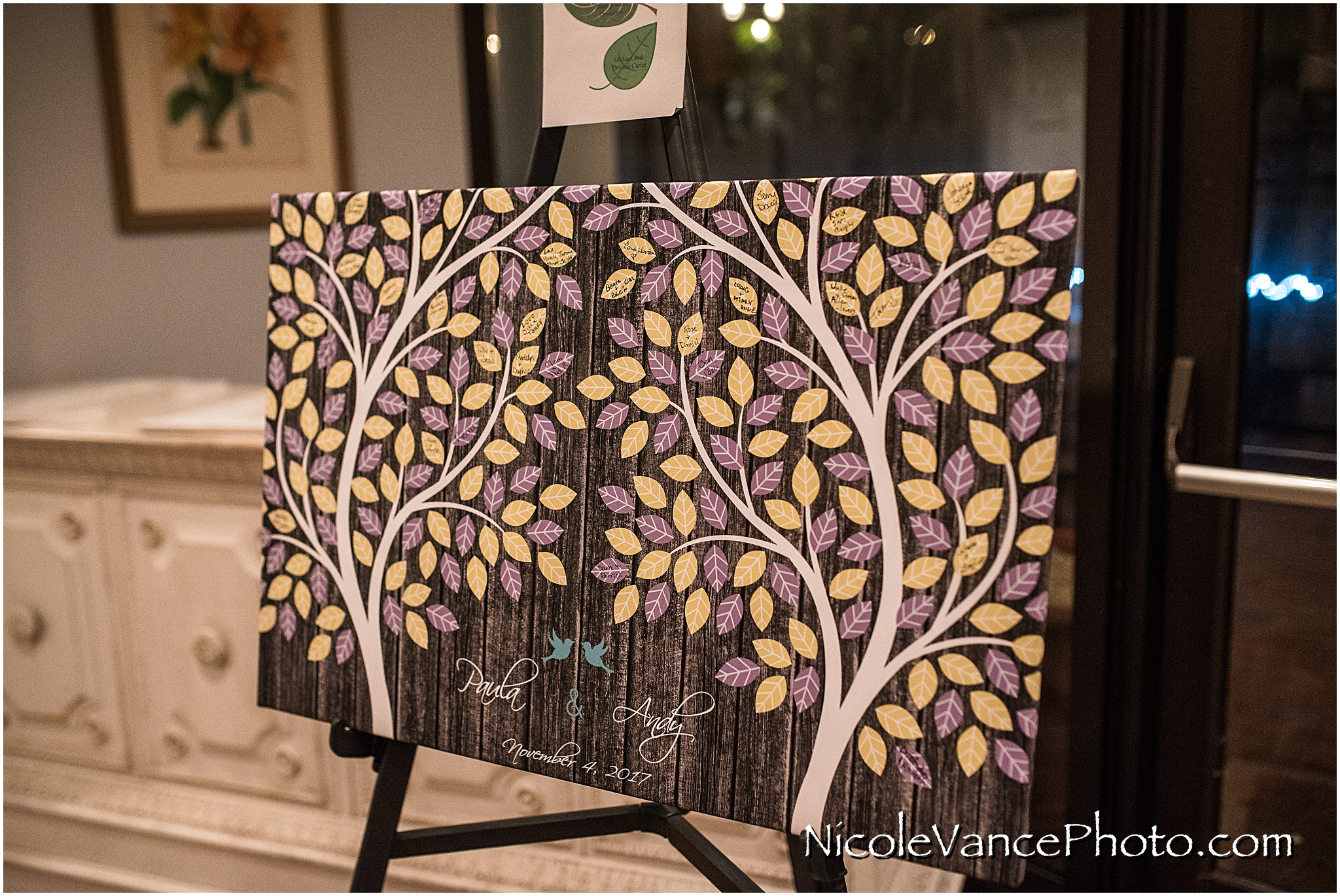 Family tree board to use as a guest book wedding reception at The Brownstone.