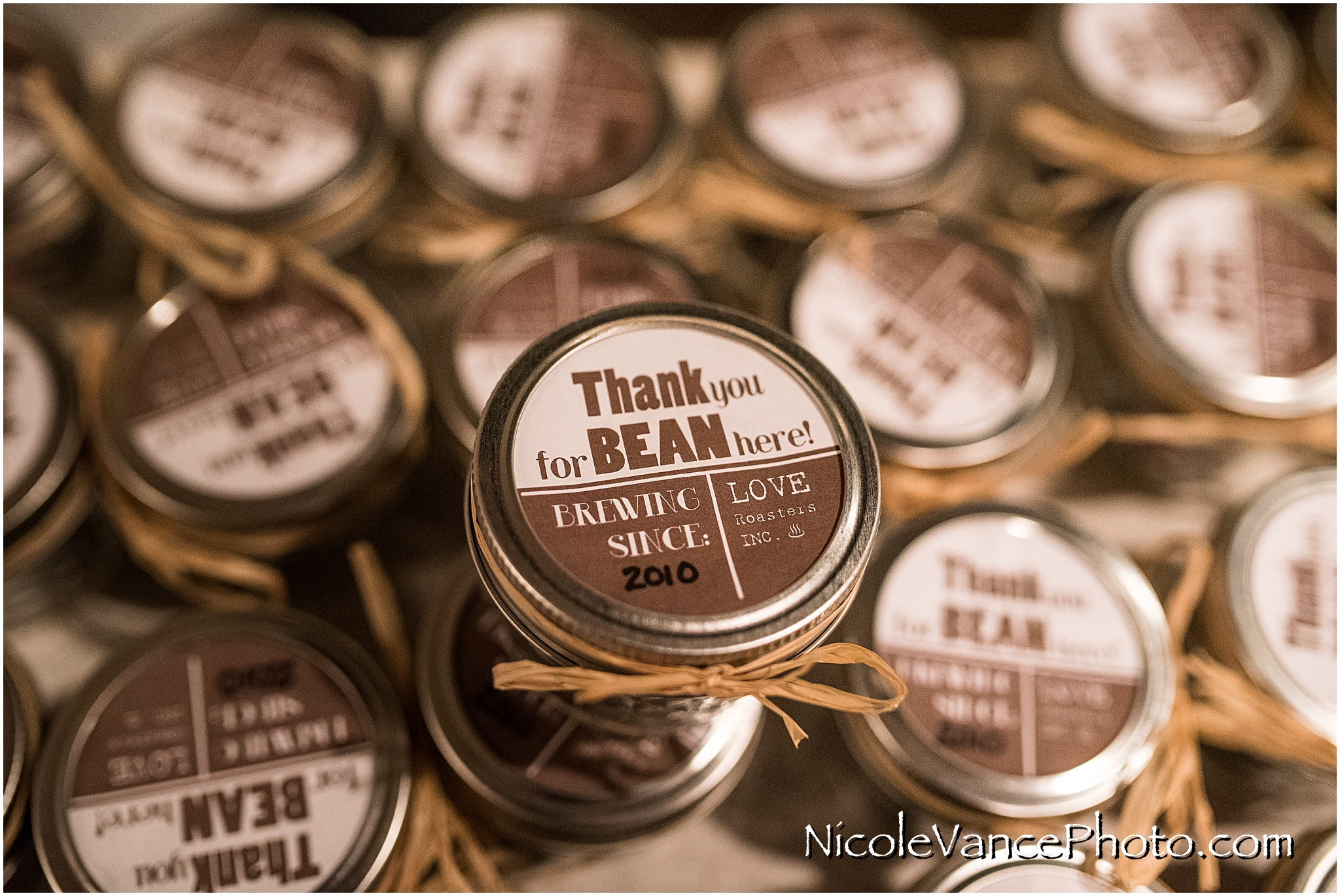 """The bride had customized tea and coffee favors for their guests... the top said """"Thank you for BEAN here!"""""""