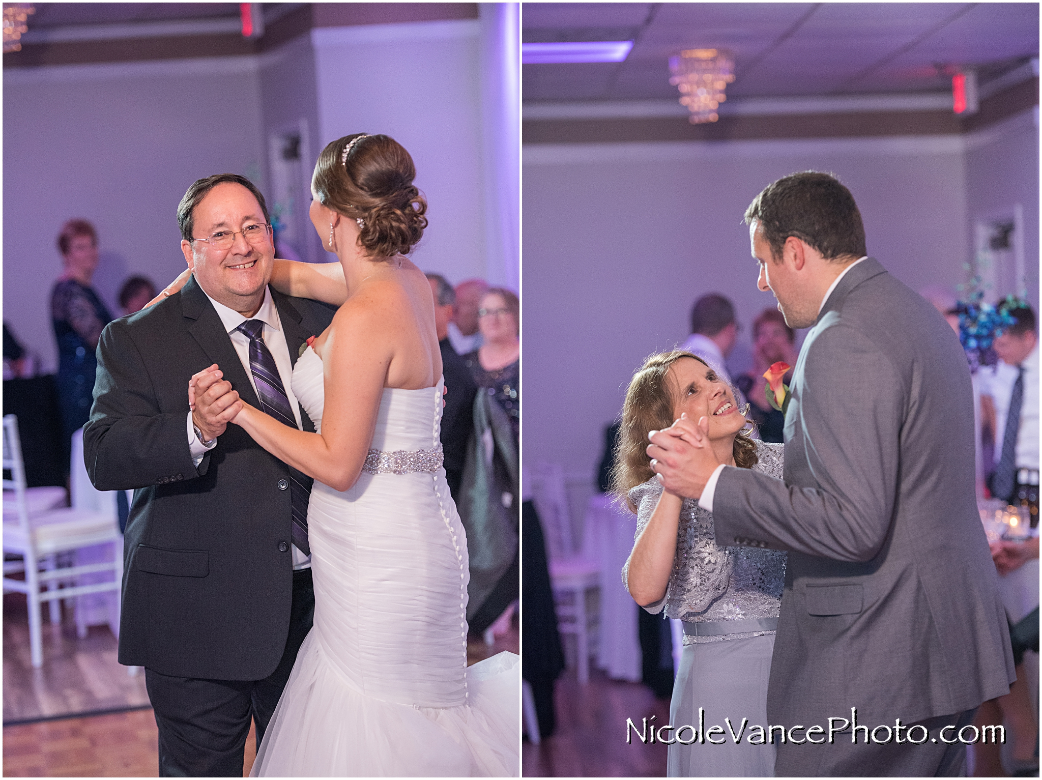The father-daughter and the mother-son dance at the reception at The Brownstone.