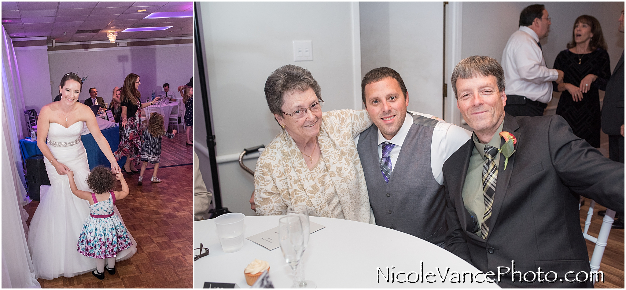 The groom and his father and grandmother at the wedding reception at The Brownstone.