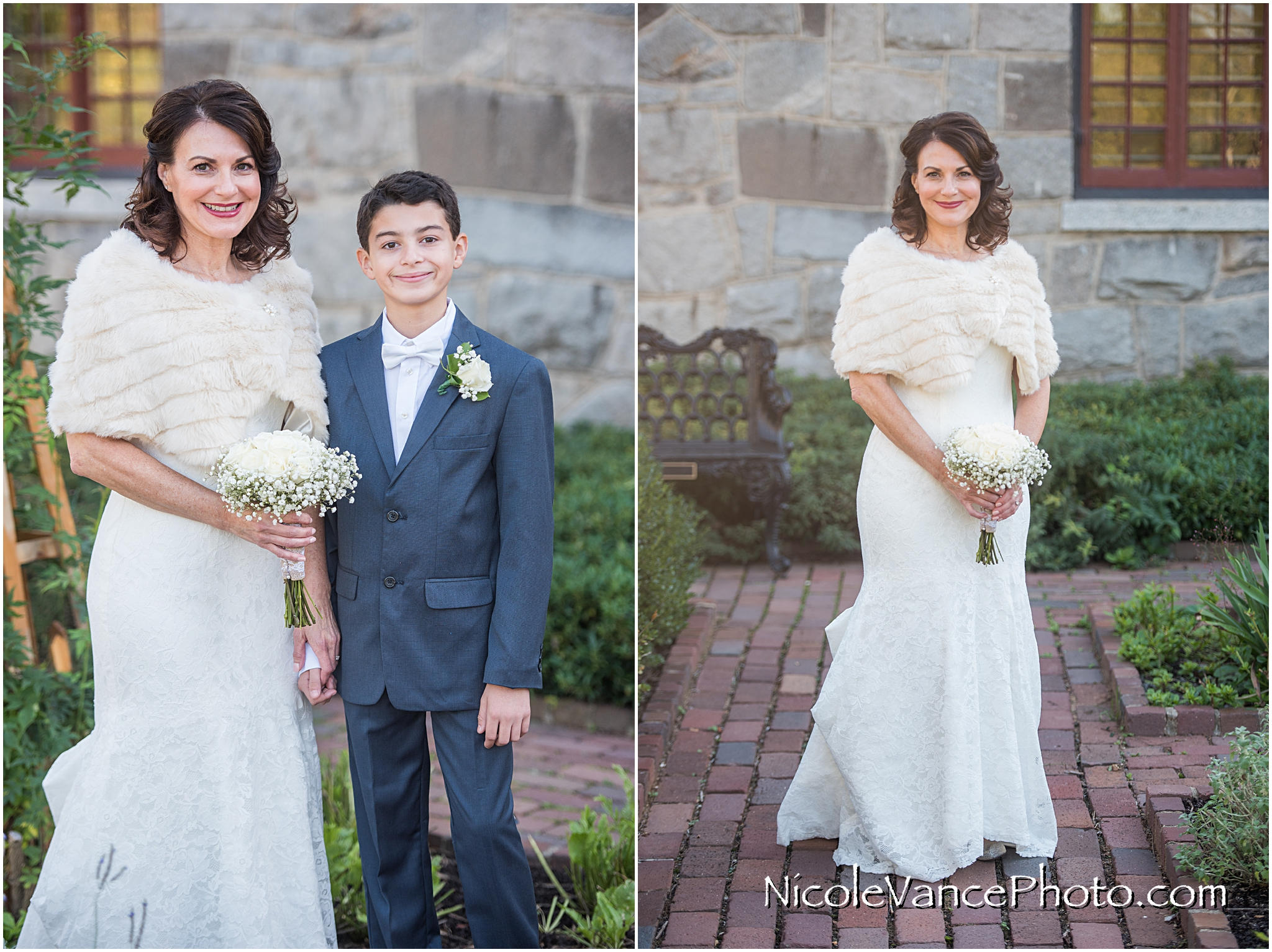 The bride poses with her son and shows off her beautiful gown just prior to the wedding at Maymont Park.