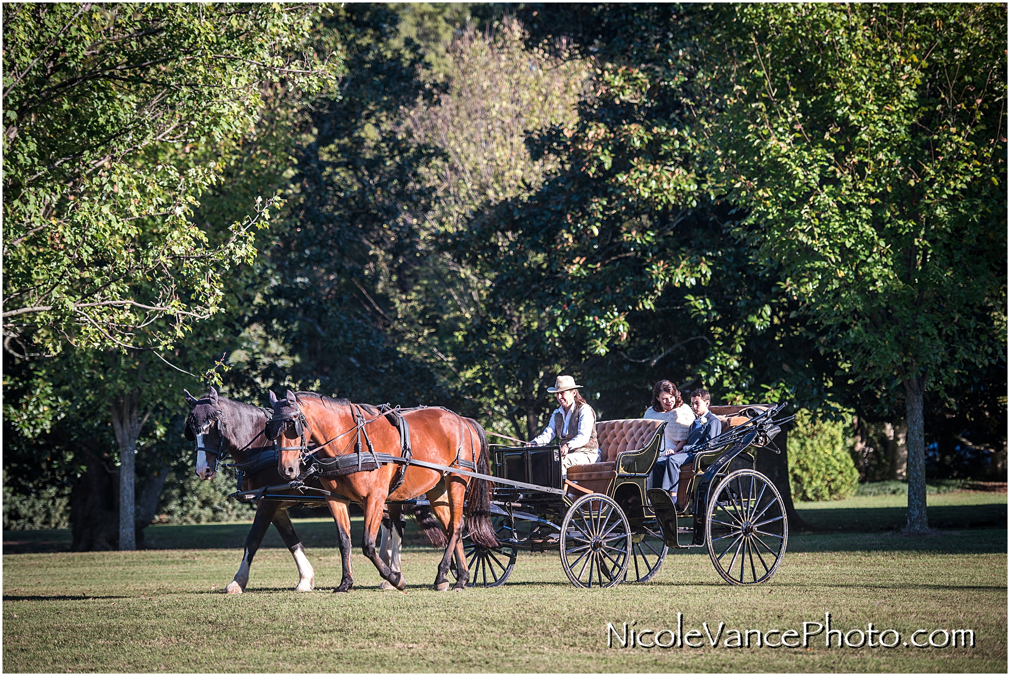 The bride and her son enjoy a horse drawn carriage ride to the wedding ceremony at Maymont Park in Richmond Virginia.