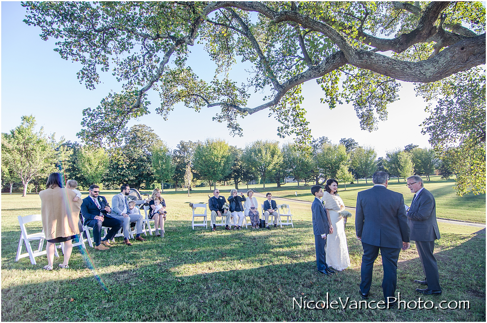 The wedding ceremony at Maymont Park in Richmond, Virginia.