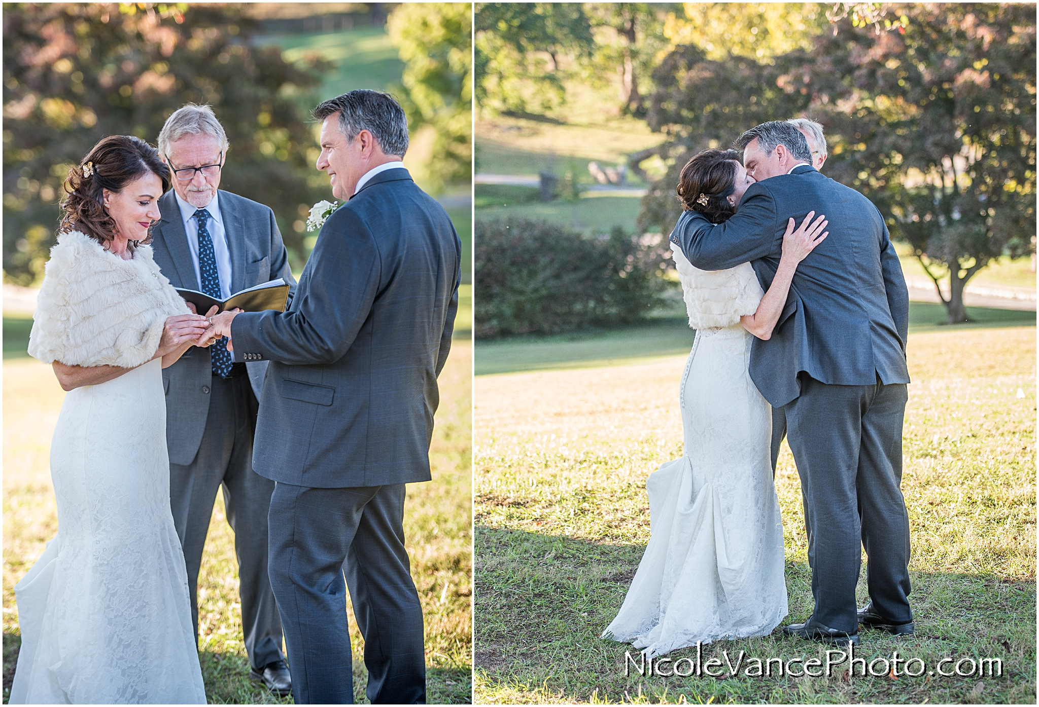 The couple exchange rings and their first kiss during their ceremony at Maymont Park.