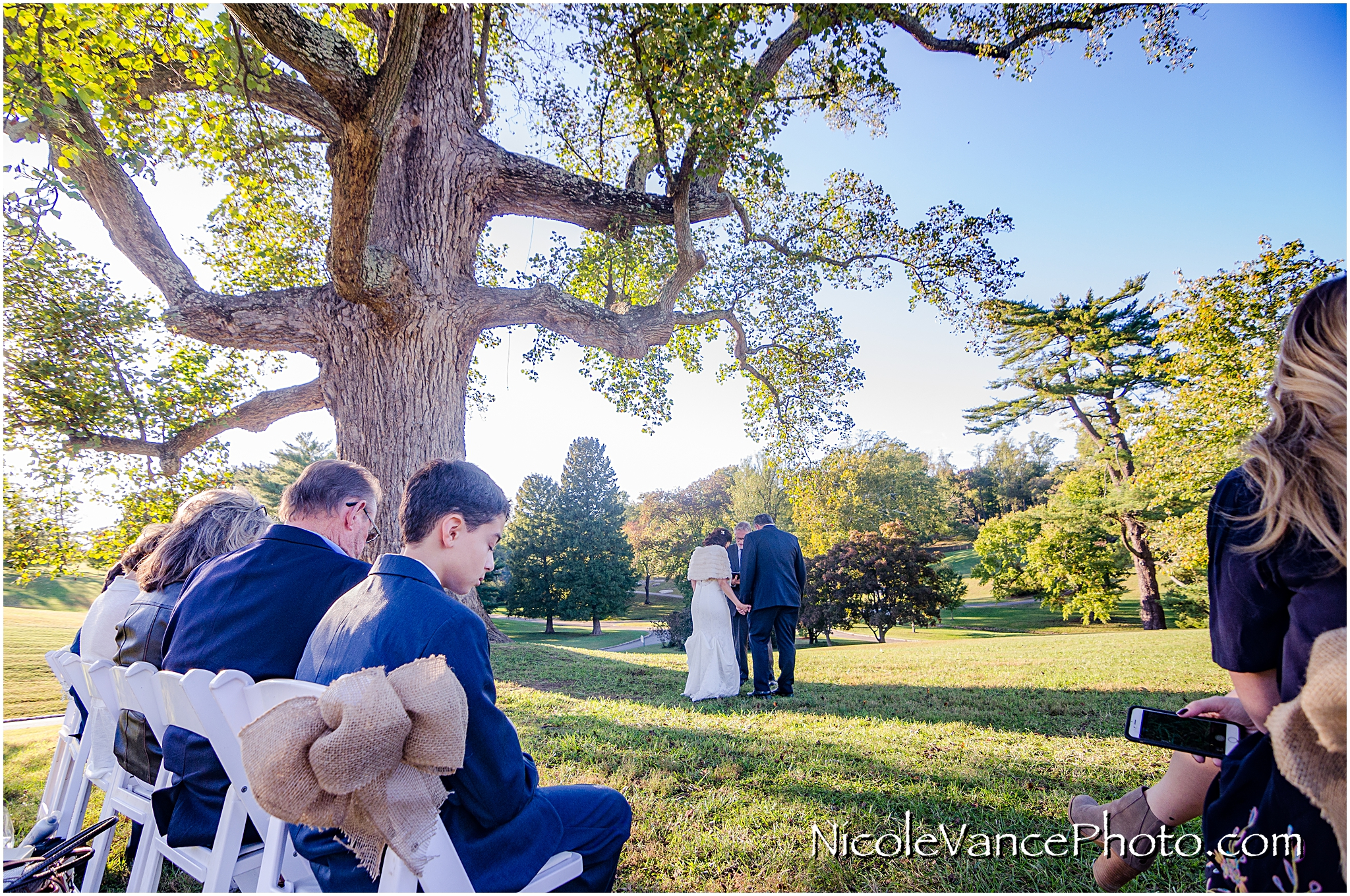 The wedding ceremony takes place under the large Tulip Poplar Tree at Maymont Park in Richmond, VA.